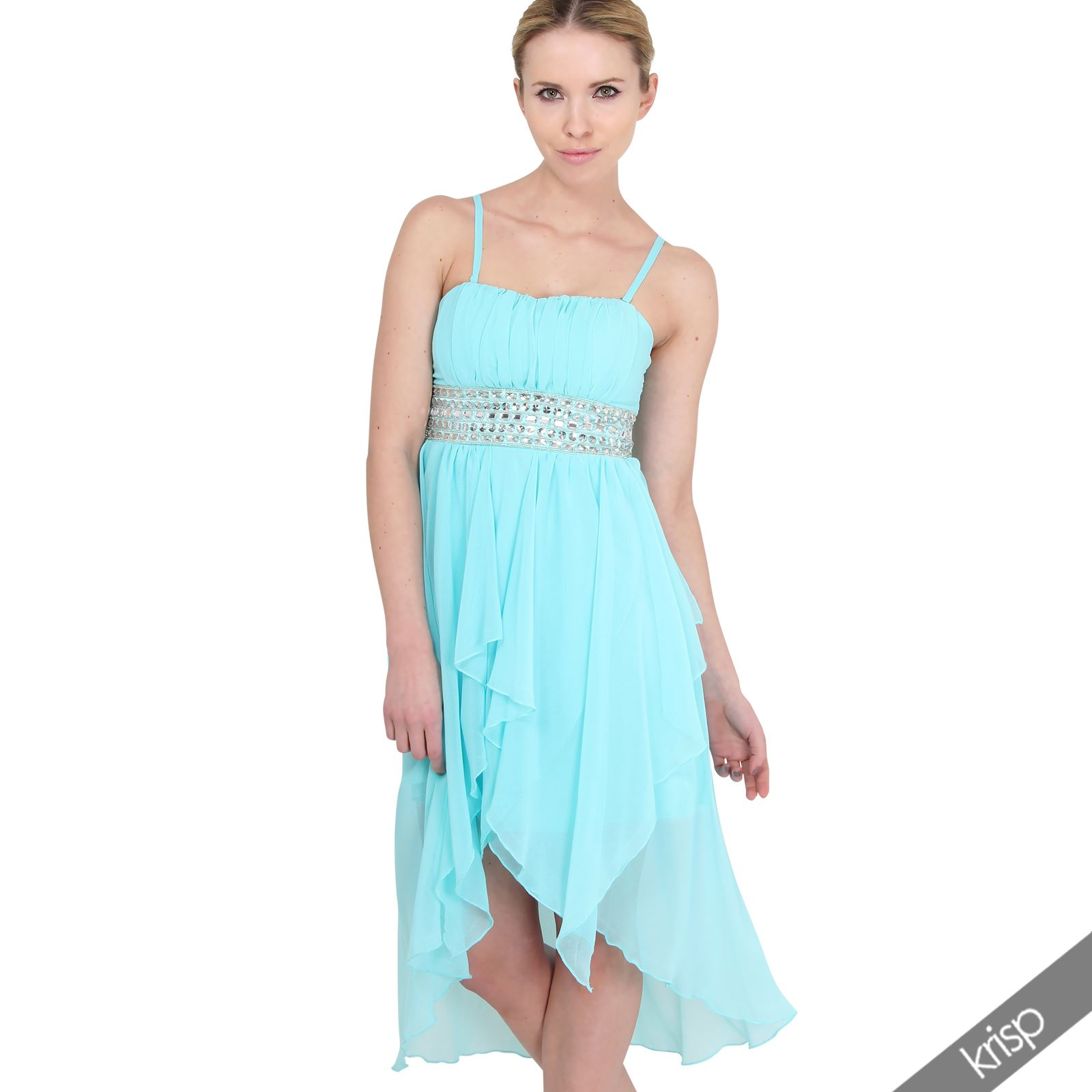 Womens Formal Diamante Prom Dress Cocktail Ball Gown Bridesmaid ...
