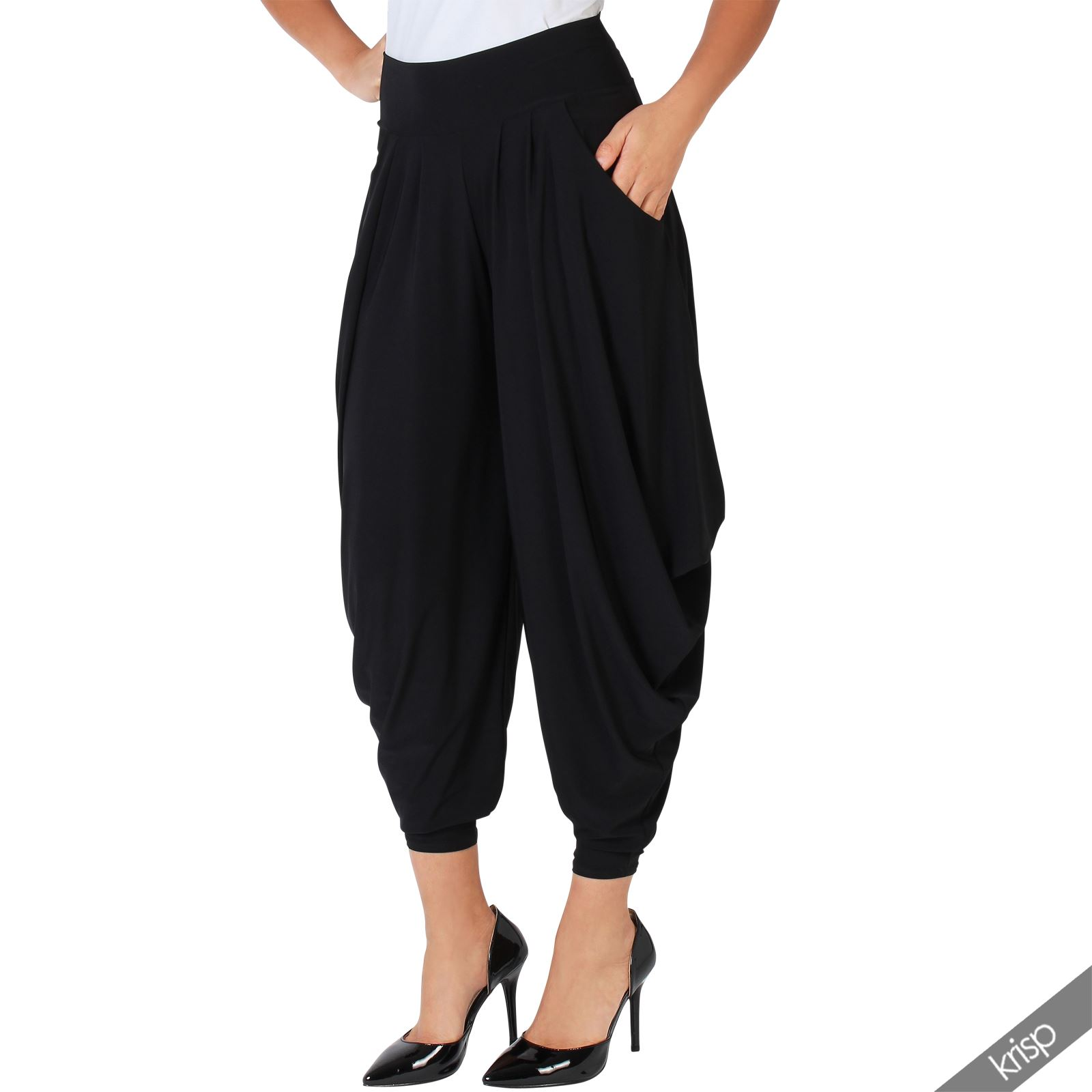 Elegant Black Harem Pants Women Stretch High Waisted Flared Trousers With Pockets USA