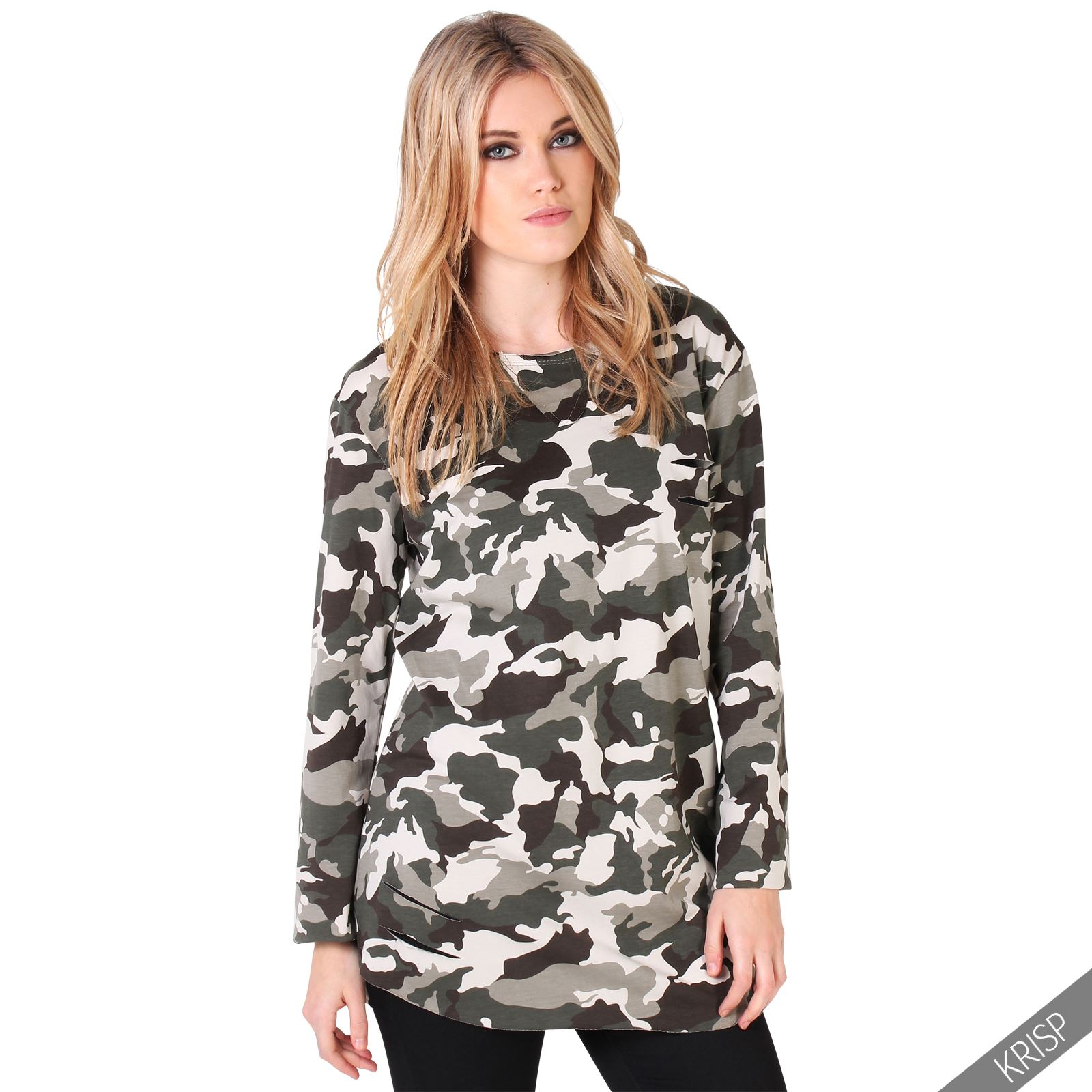 damen camouflage langarm shirt sweatshirt used style army oversize baumwolle ebay. Black Bedroom Furniture Sets. Home Design Ideas