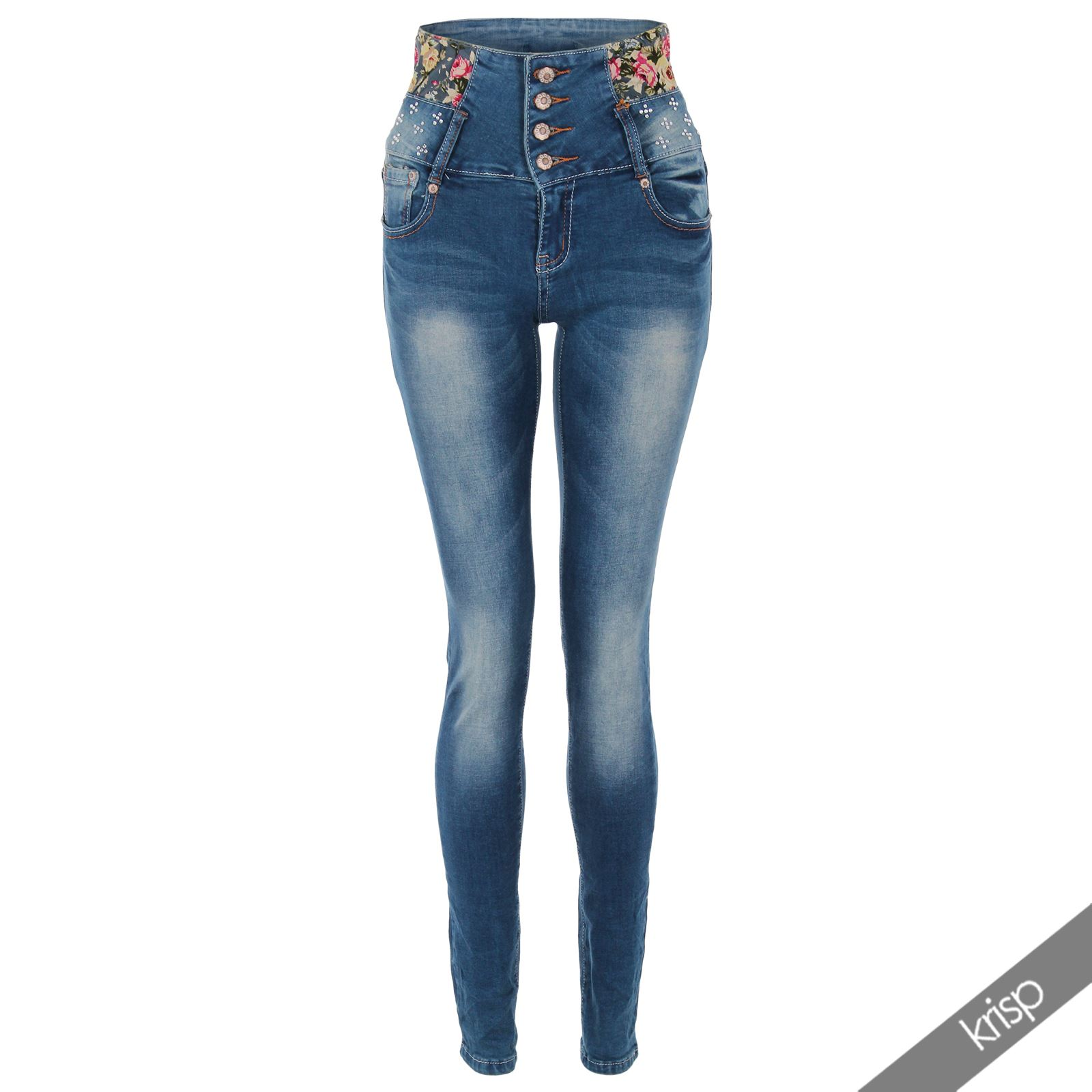 jeans skinny slim taille haute femme pantalon denim d lav bleu sexy ebay. Black Bedroom Furniture Sets. Home Design Ideas