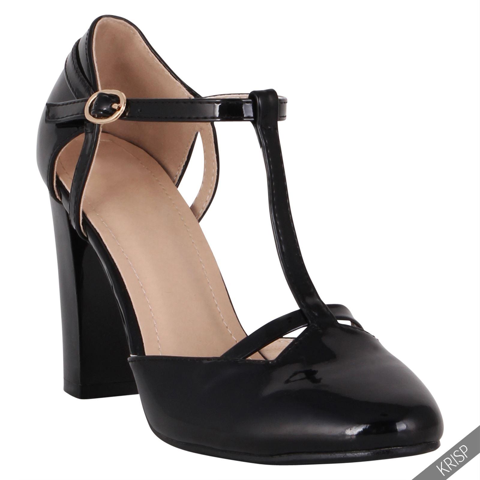 damen retro t riemchen pumps blockabsatz high heels. Black Bedroom Furniture Sets. Home Design Ideas
