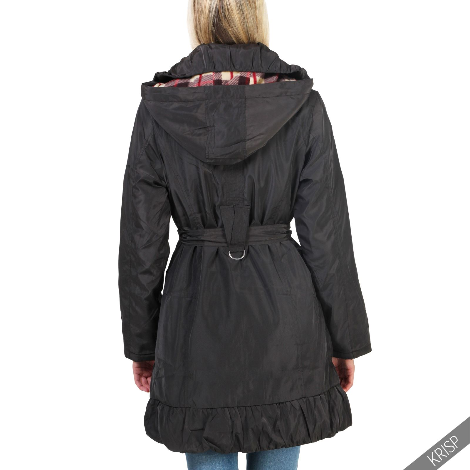 damen parka winter mantel jacke warmes karo fleece tailliert abnehmbare kapuze ebay. Black Bedroom Furniture Sets. Home Design Ideas