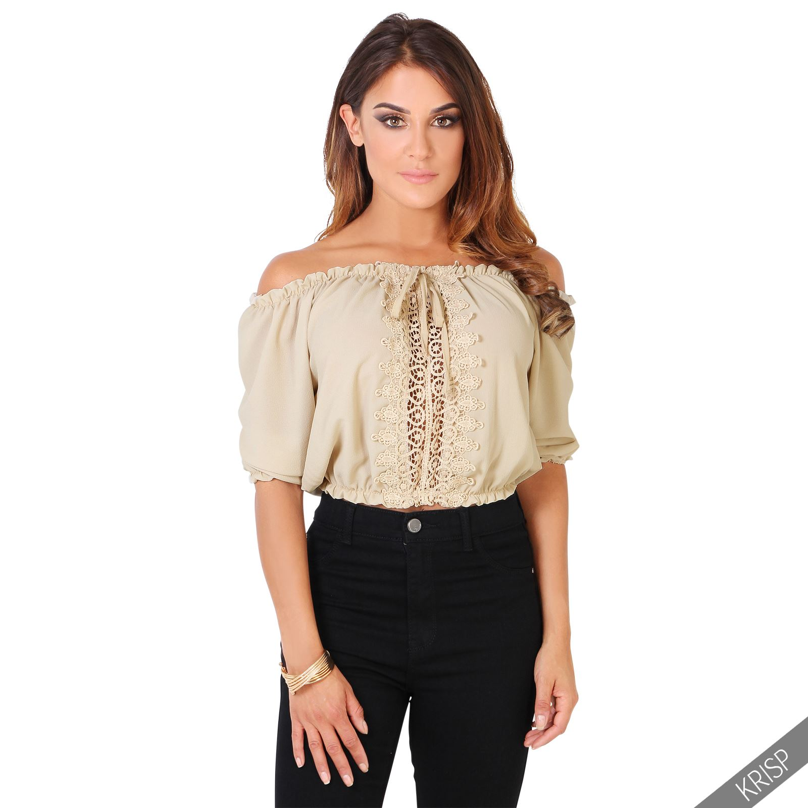 Womens Ladies Boho Sexy One Off Shoulder Bardot Blouse Cropped ...