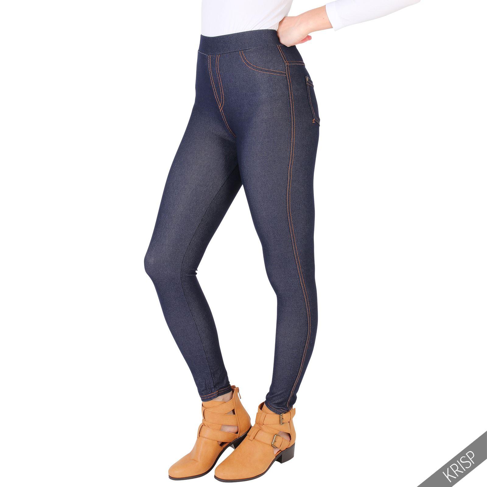 damen denim look high waist leggings jeggings jeans skinny slim fit stretch hose ebay. Black Bedroom Furniture Sets. Home Design Ideas