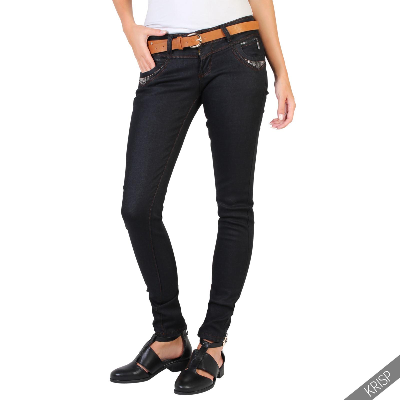 femmes jeans skinny noir strass poches ceinture camel fine pantalon slim casual ebay. Black Bedroom Furniture Sets. Home Design Ideas