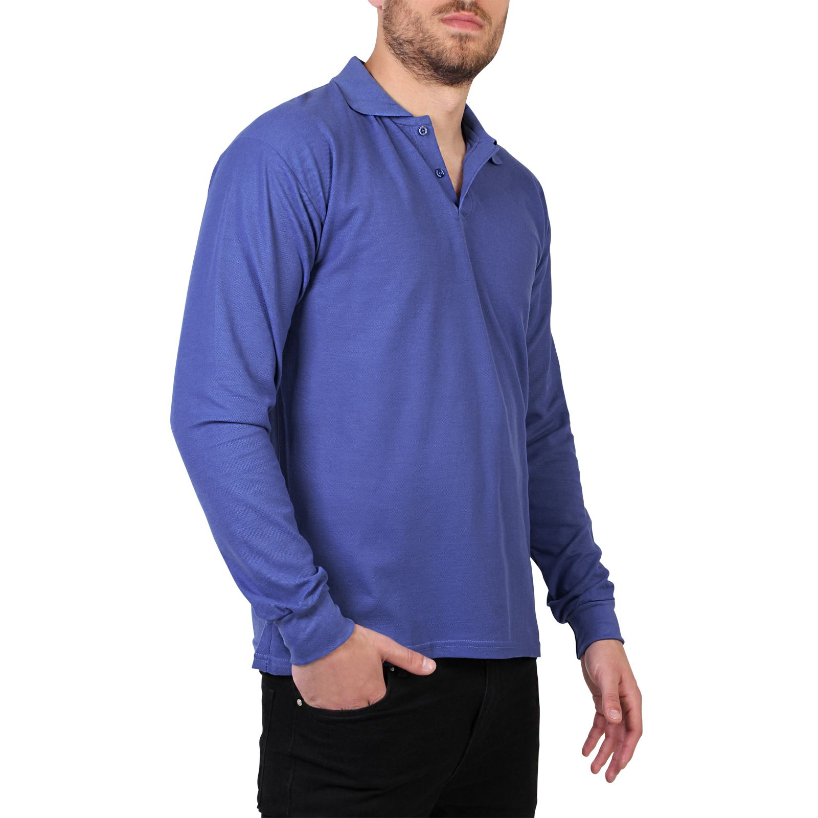 Mens casual long sleeve polo t shirt top plain regular for Best t shirts for summer