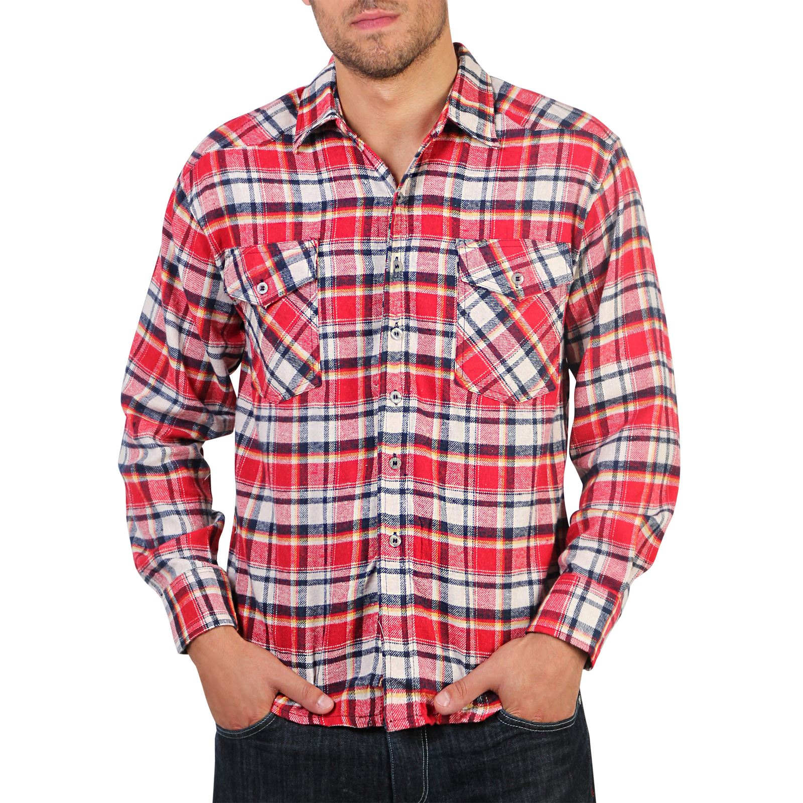 Mens Flannel Brushed Cotton Lumberjack Check Long Sleeve