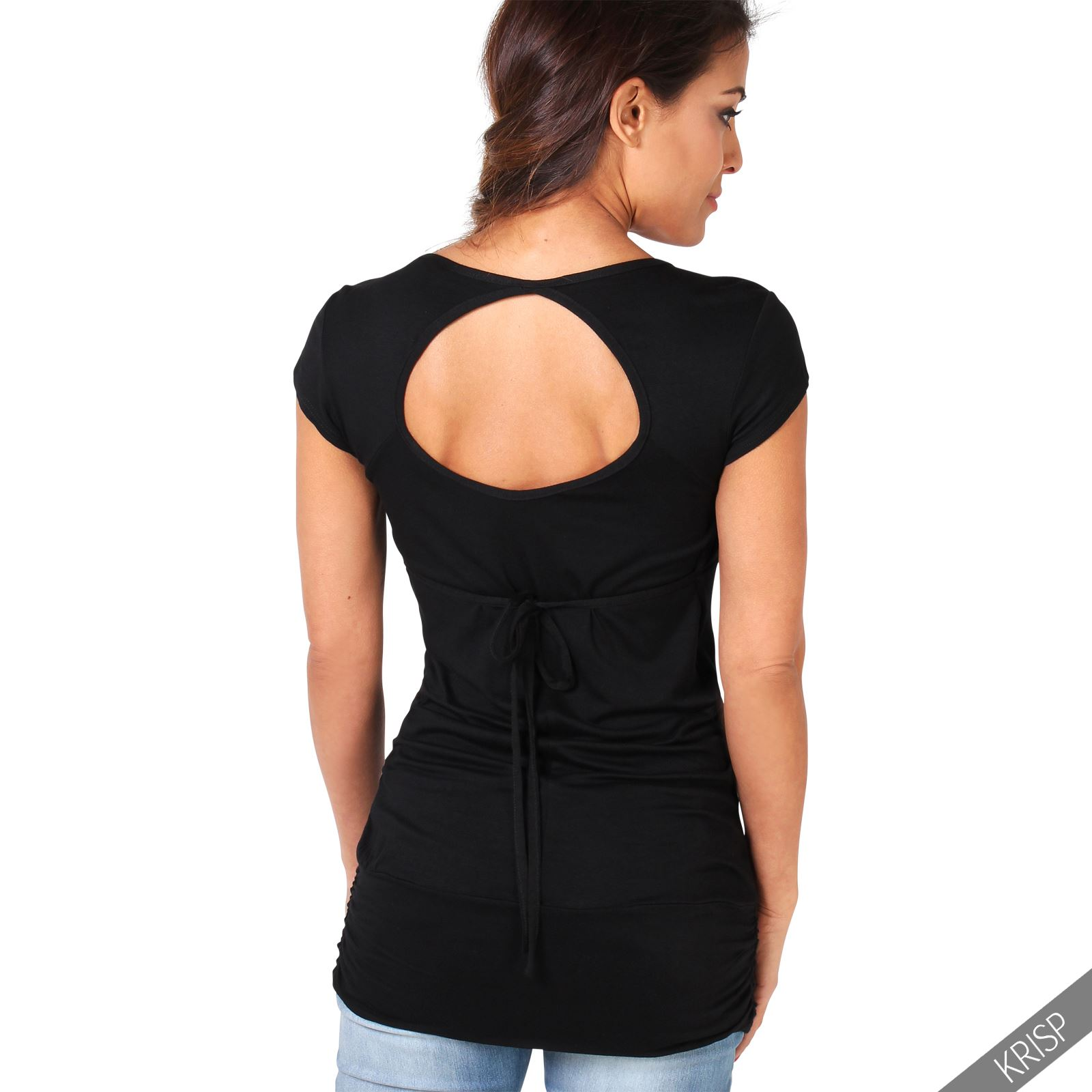 Womens Backless Cap Sleeve Lace Up V Neck Stretch Tunic Top T Shirt Blouse Party