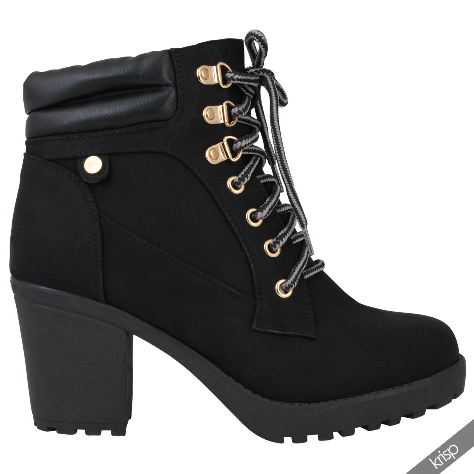 womens chunky block high heel worker ankle boots cleated