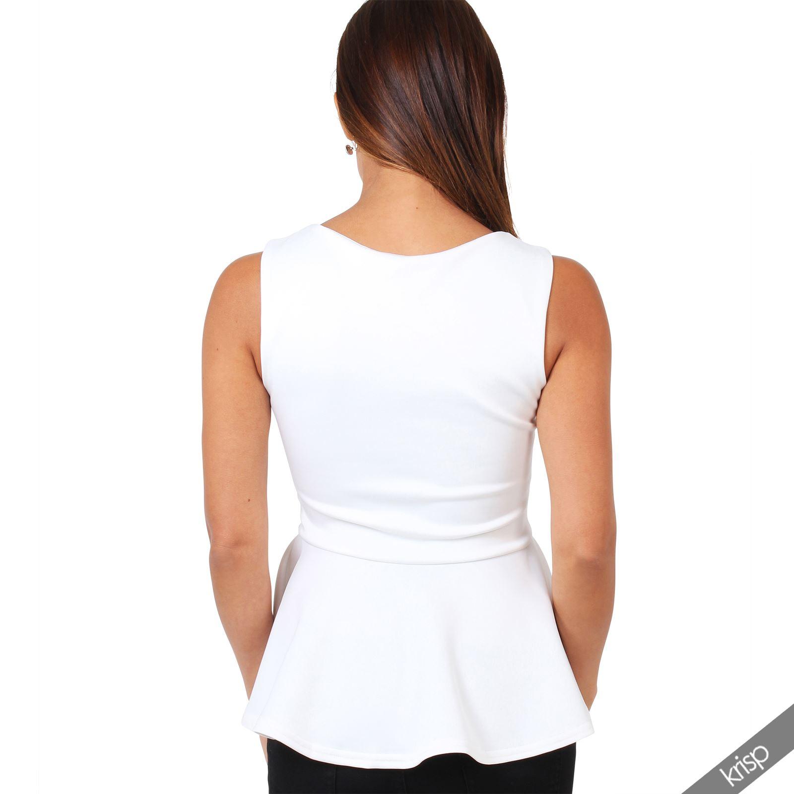 femme haut top blouse peplum col v lacet taille volant e evas e sexy soir e ebay. Black Bedroom Furniture Sets. Home Design Ideas