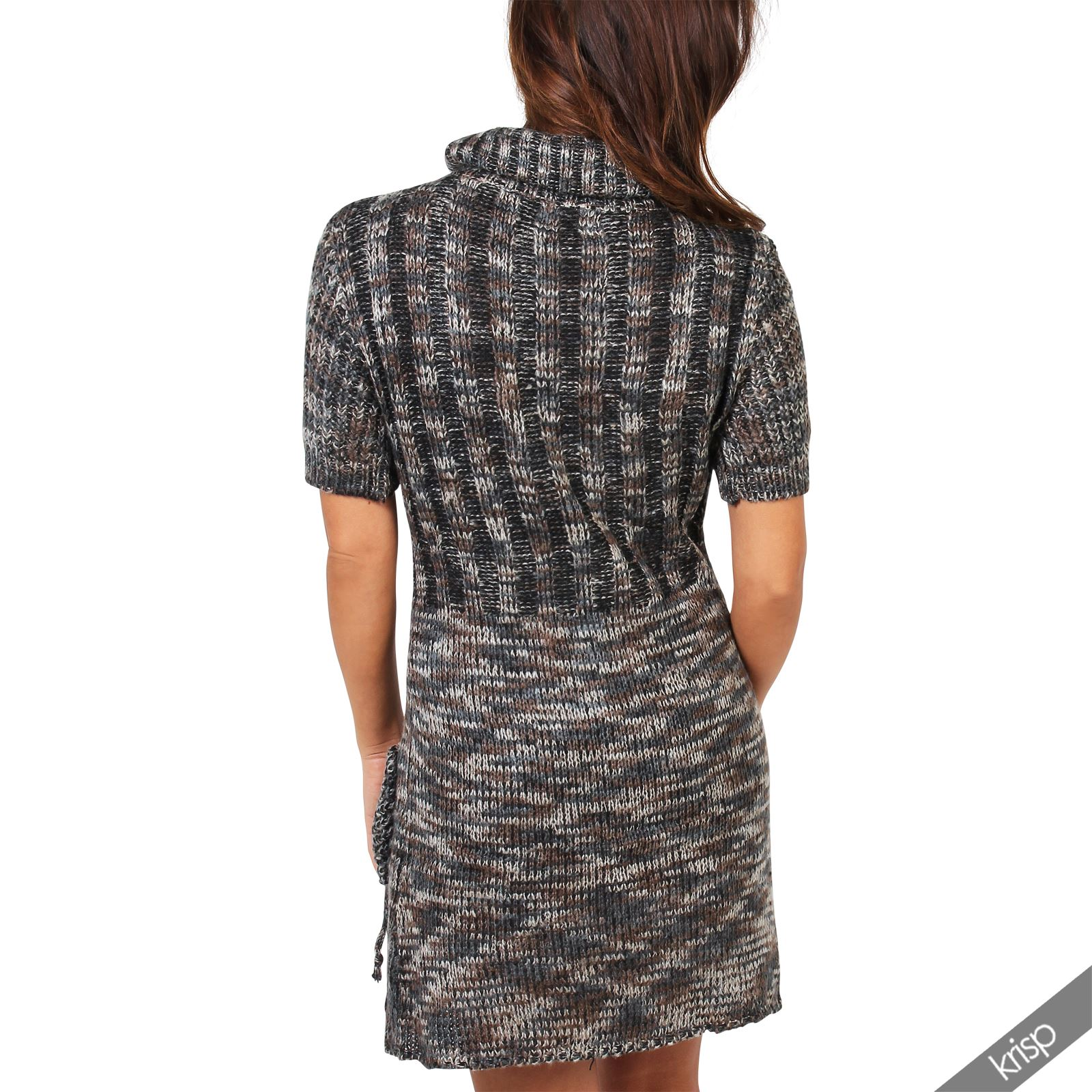 Femme robe pull tunique tricot grosse maille col roul poches ebay - Tricot grosse maille ...