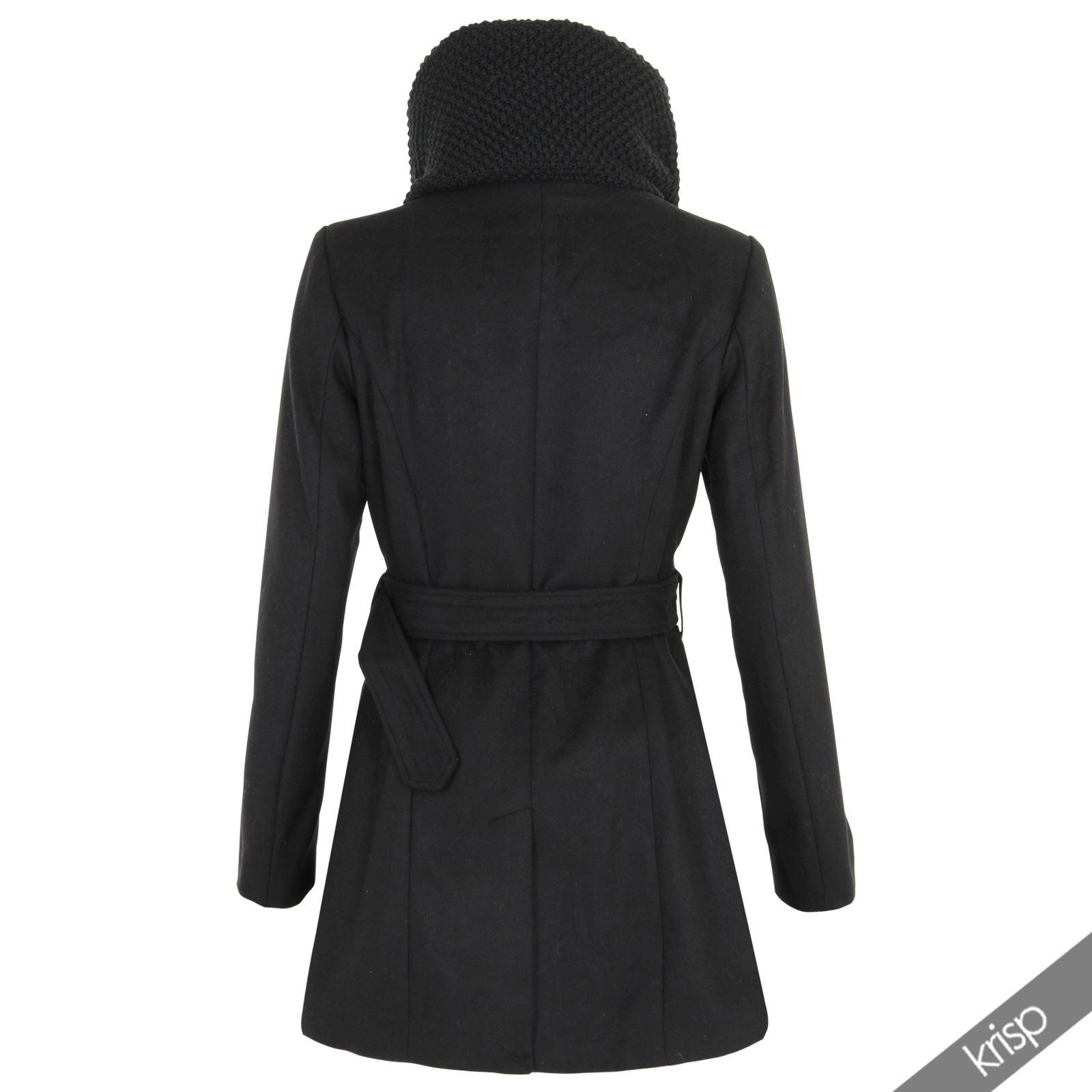 krisp damen winter mantel mit schalkragen wollmantel zweireiher elegante jacke ebay. Black Bedroom Furniture Sets. Home Design Ideas