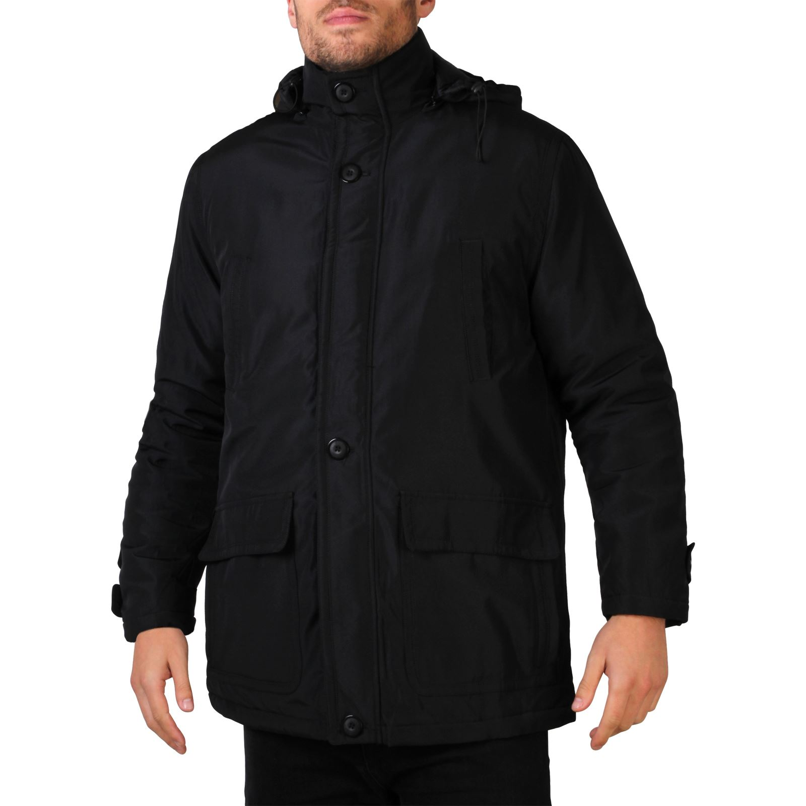 Mens Detachable Hood Warm Padded Parka Jacket Hooded