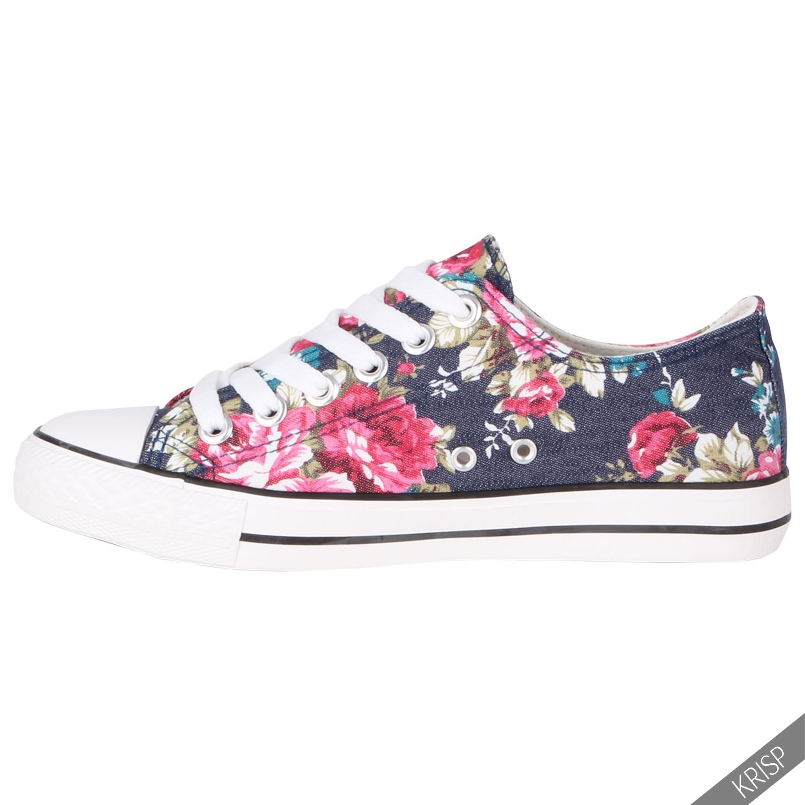 Womens Floral Plain Leopard Low Top Fashion Trainers Flat Shoes Summer Sneakers | EBay