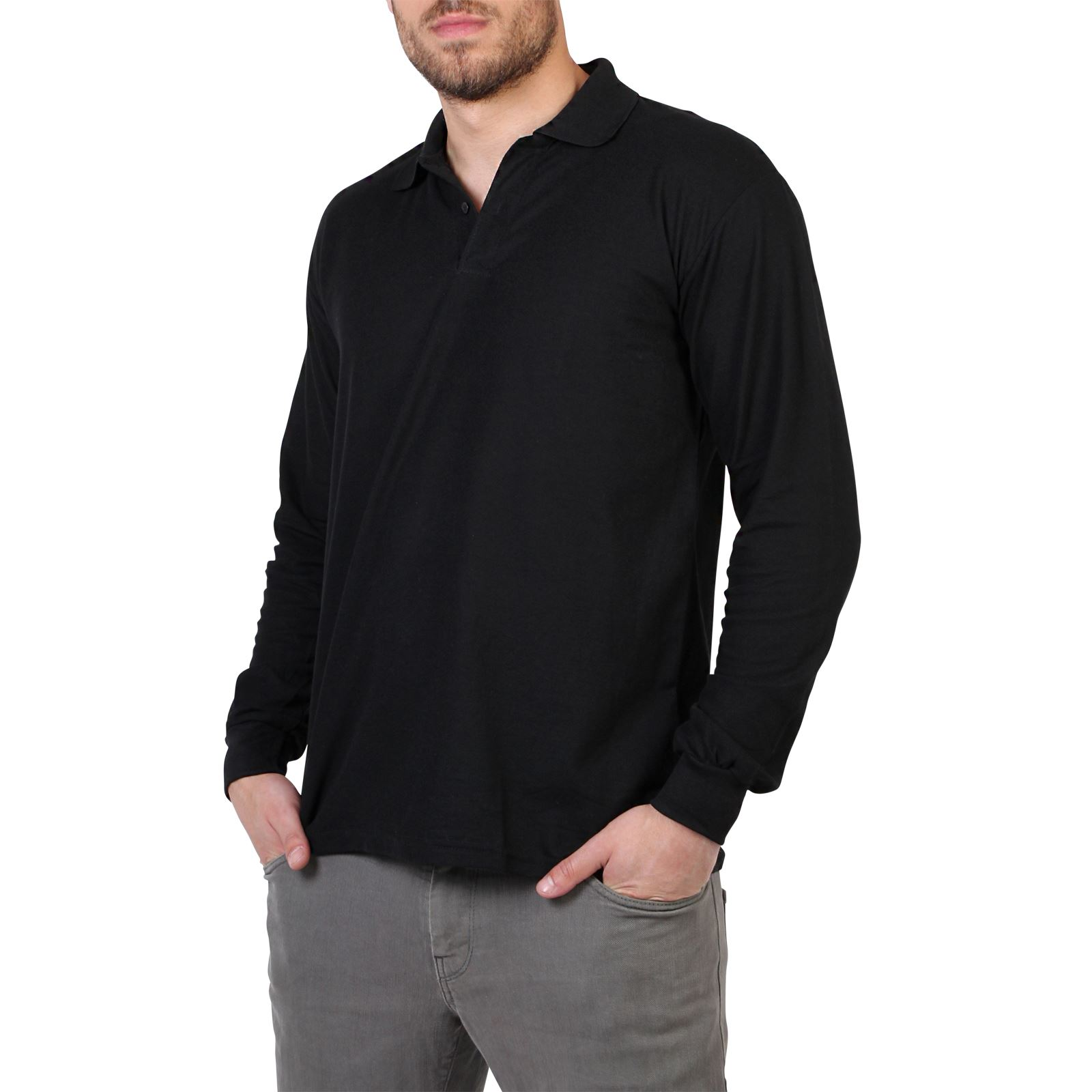Mens casual long sleeve polo t shirt top plain regular for Xxl long sleeve t shirts