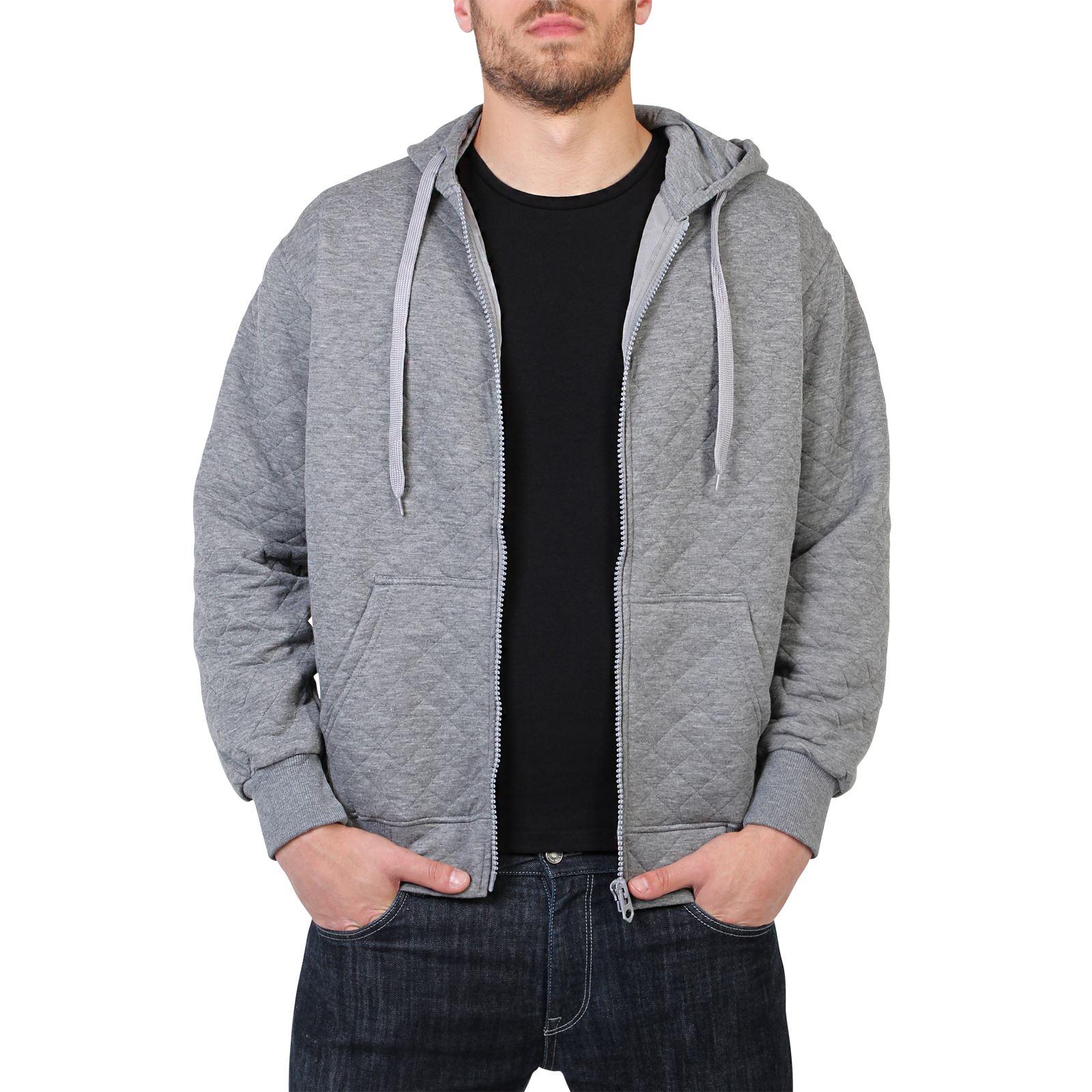 Mens Zip Up Casual Hoodie Plain Classic Cotton Sweatshirt ...