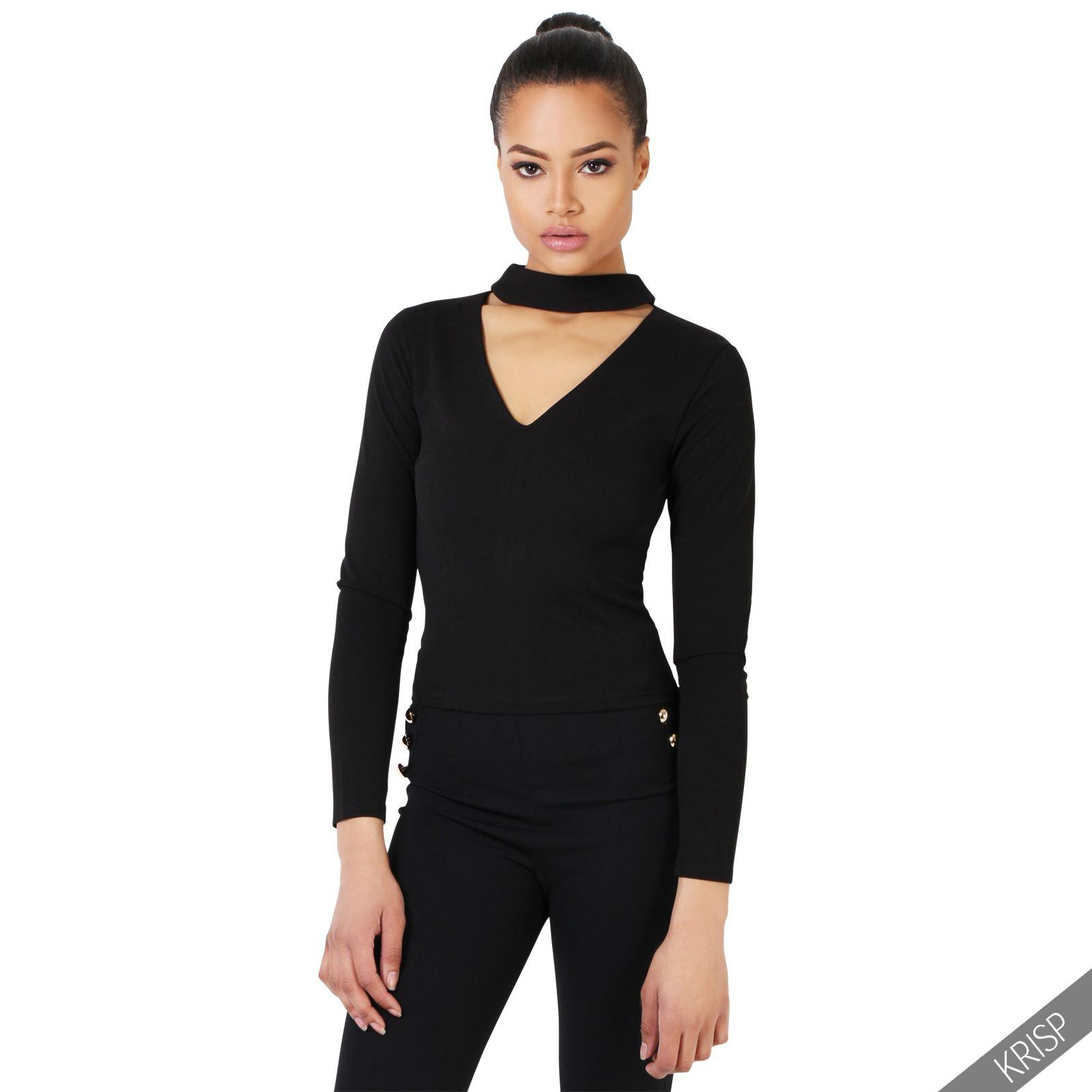 femmes top t shirt haut uni d collet d coup plongeant col v moulant soir es ebay. Black Bedroom Furniture Sets. Home Design Ideas