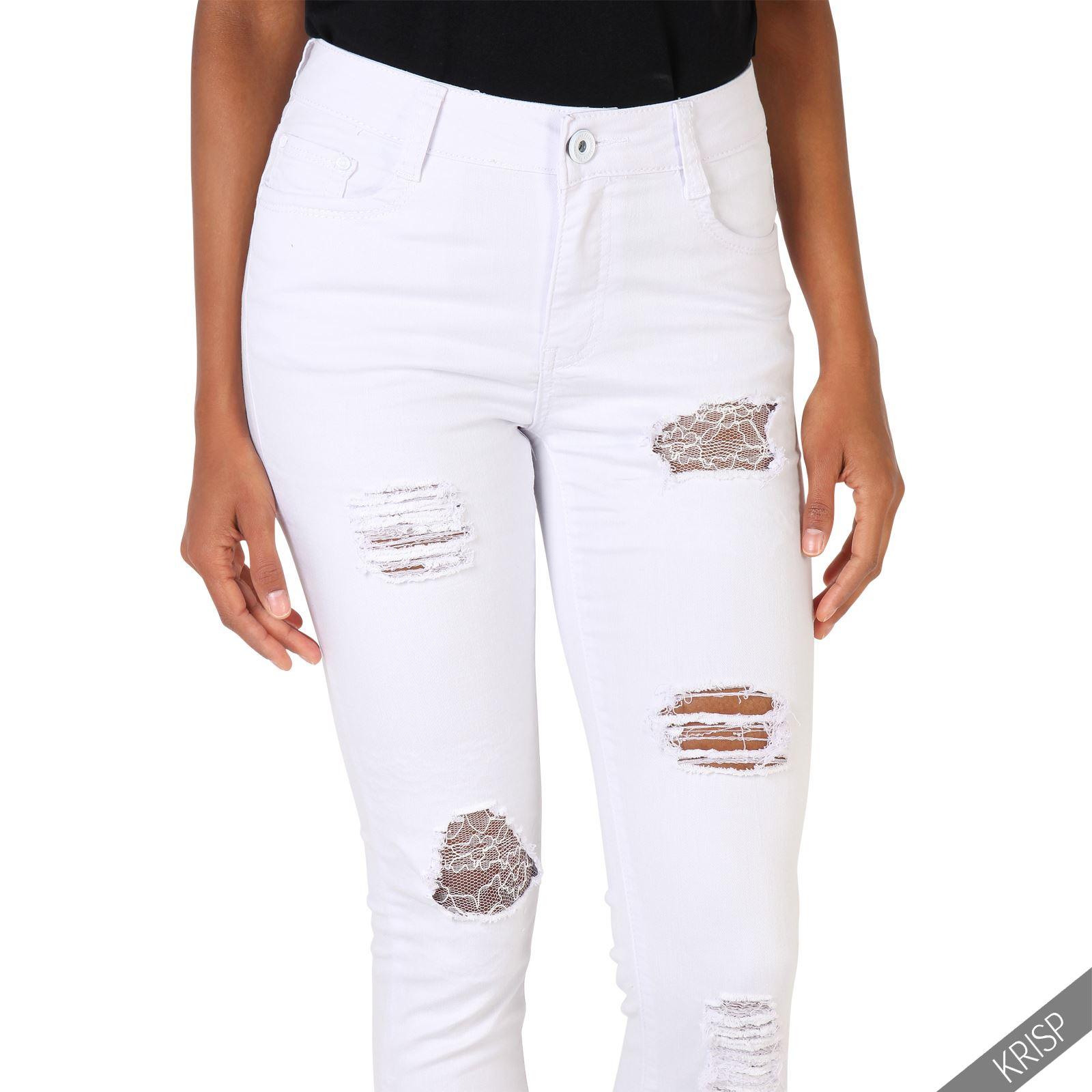 femme jean blanc taille haute trou empi cements dentelle. Black Bedroom Furniture Sets. Home Design Ideas