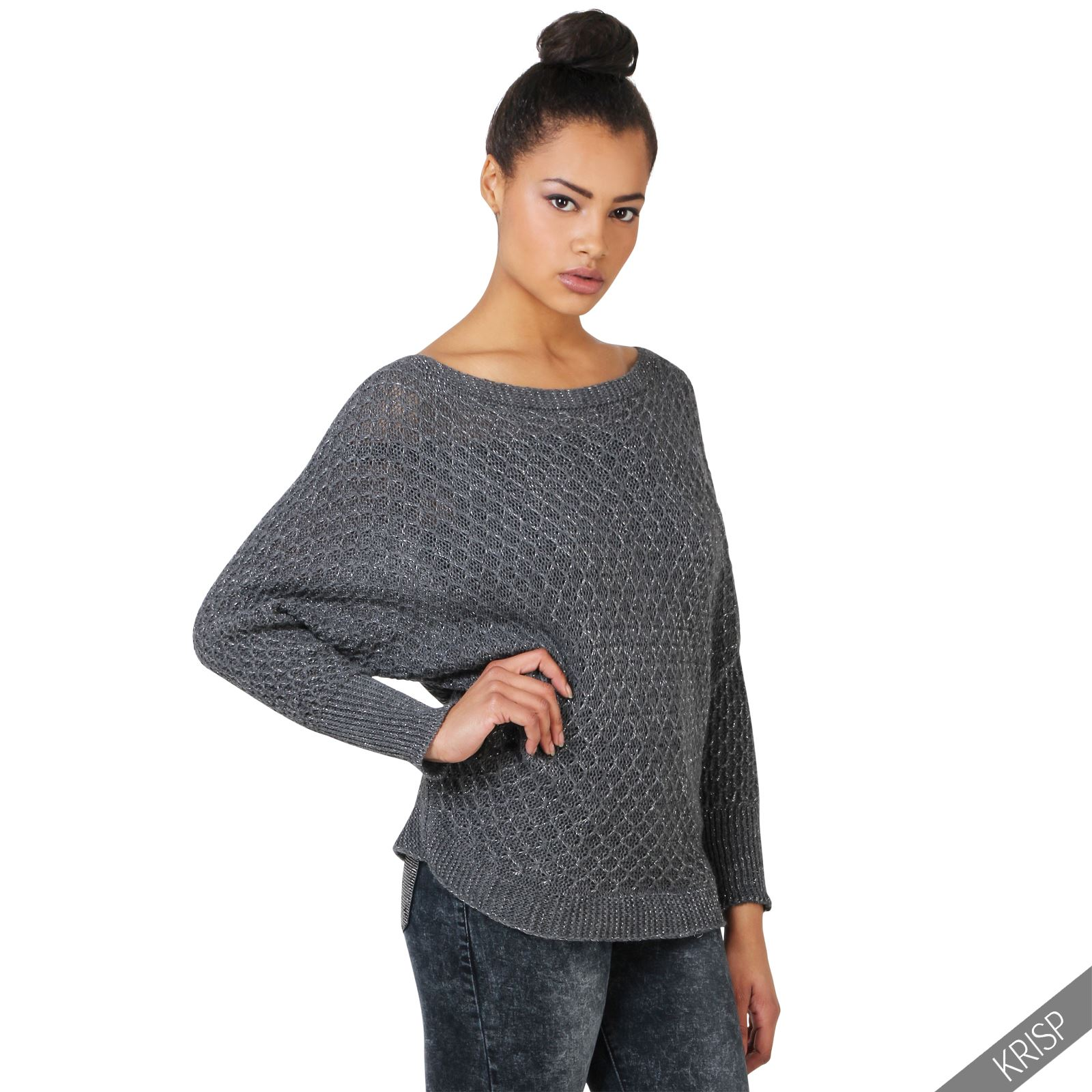 womens glitter knit oversize batwing jumpers ladies casual sweater pullover top ebay. Black Bedroom Furniture Sets. Home Design Ideas