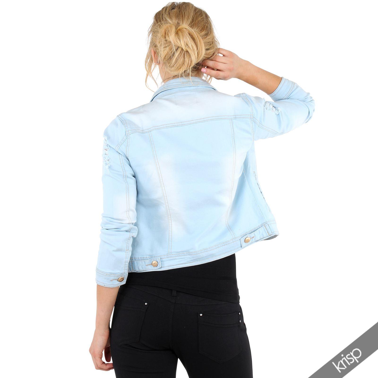 damen d nne jeans jacke denim gebleicht zerrissen kurze sommerjacke basics ebay. Black Bedroom Furniture Sets. Home Design Ideas