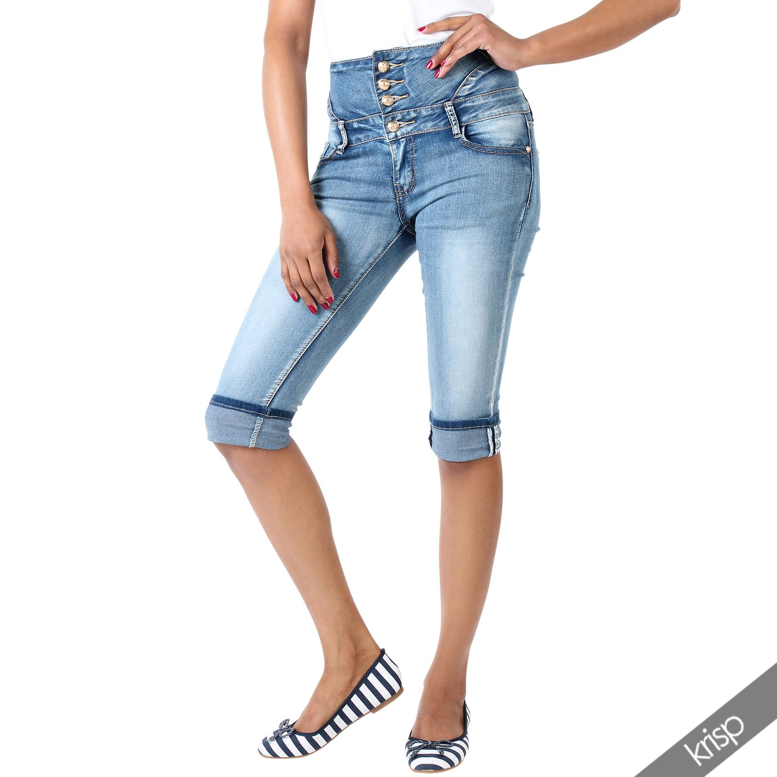 damen denim capri hose hoher bund kurze halblange stretch skinny jeans shorts ebay. Black Bedroom Furniture Sets. Home Design Ideas