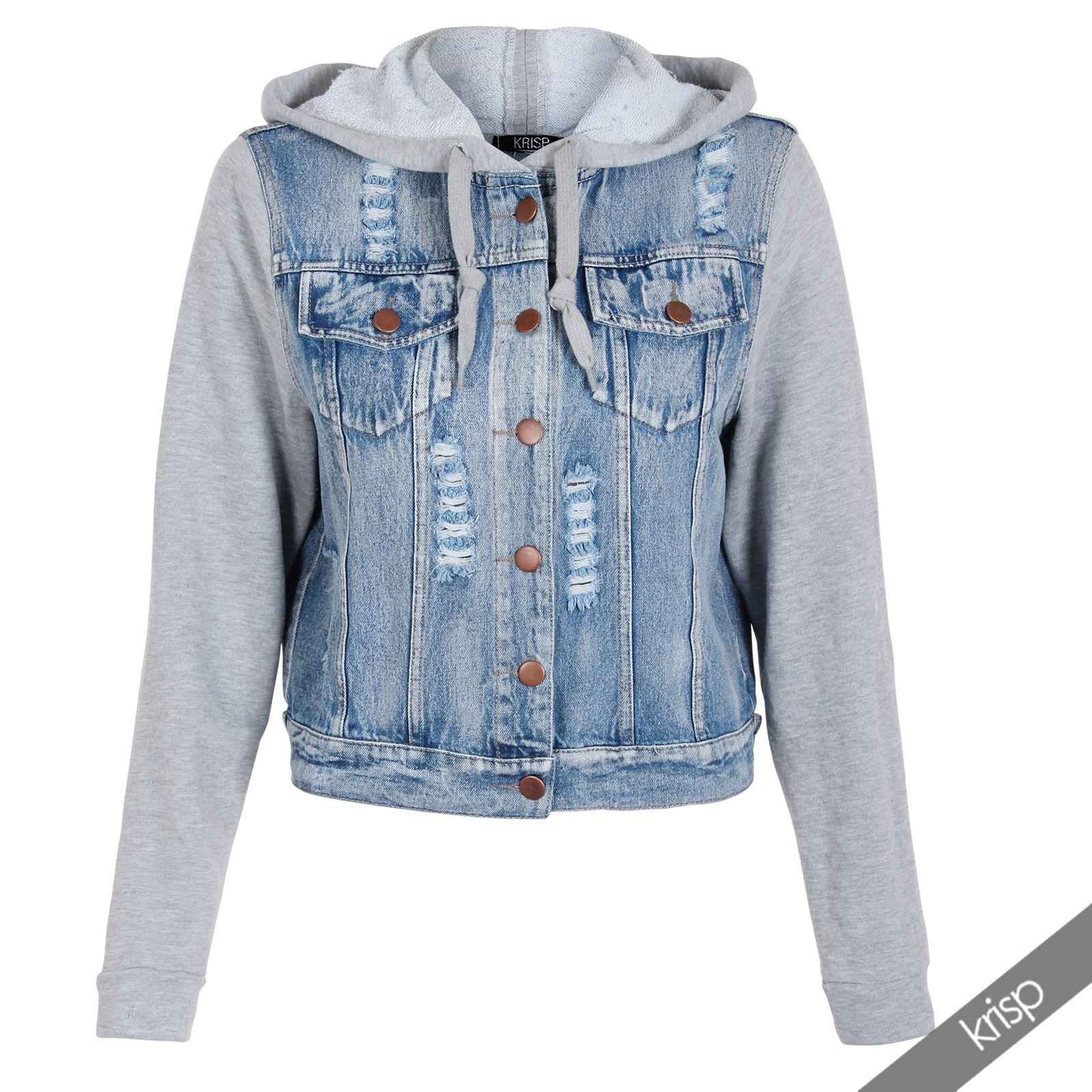 jeans jacke damen jersey rmel kapuze helle waschung ausgefranst denim biker ebay. Black Bedroom Furniture Sets. Home Design Ideas