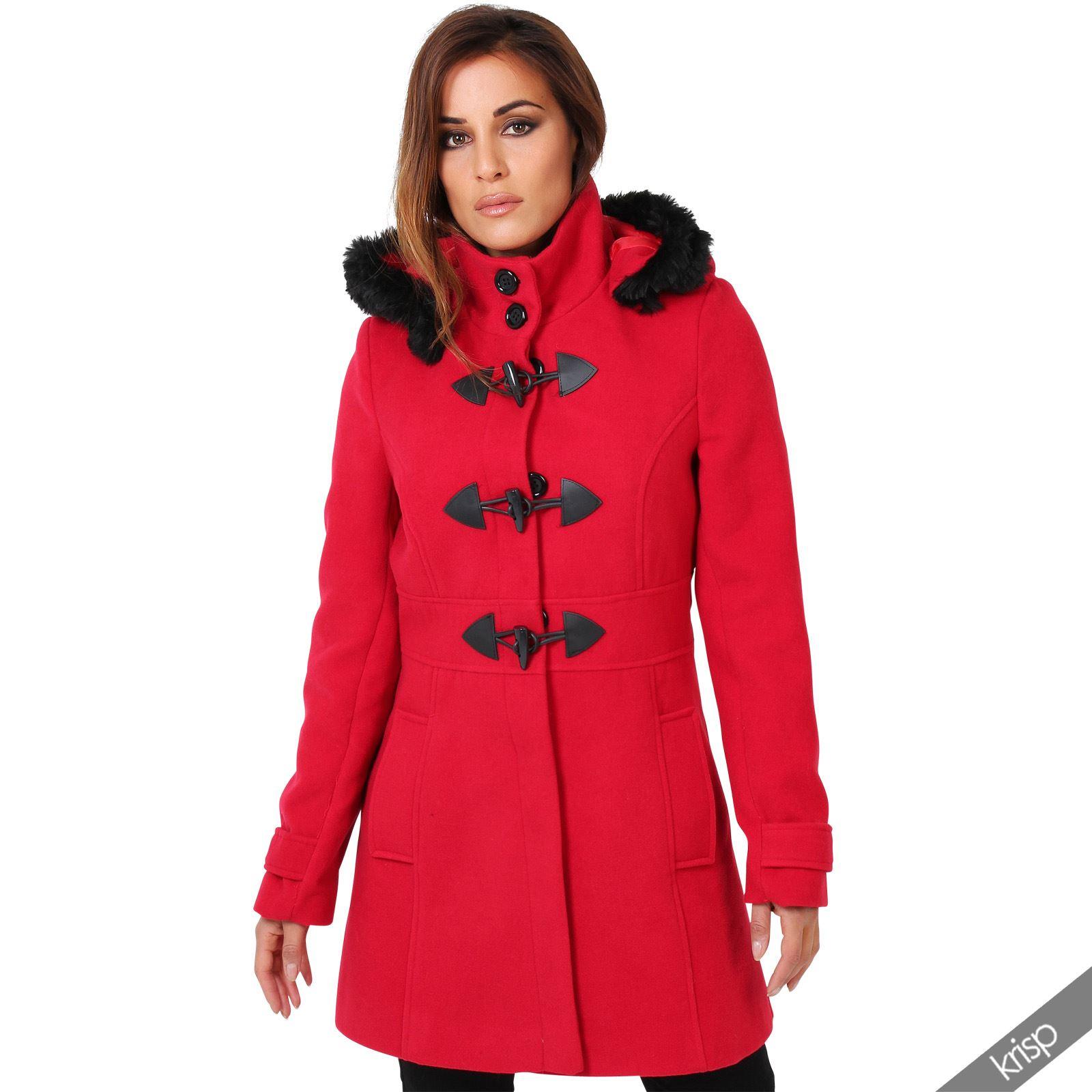 women detachable hood 2 in 1 jacket wool fleece toggle duffle coat trench winter ebay. Black Bedroom Furniture Sets. Home Design Ideas