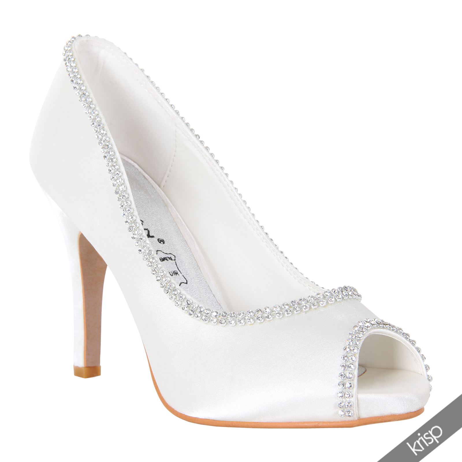 Womens Diamante Open Peep Toe High Heel Court Shoes Pumps Bridal Prom Wedding