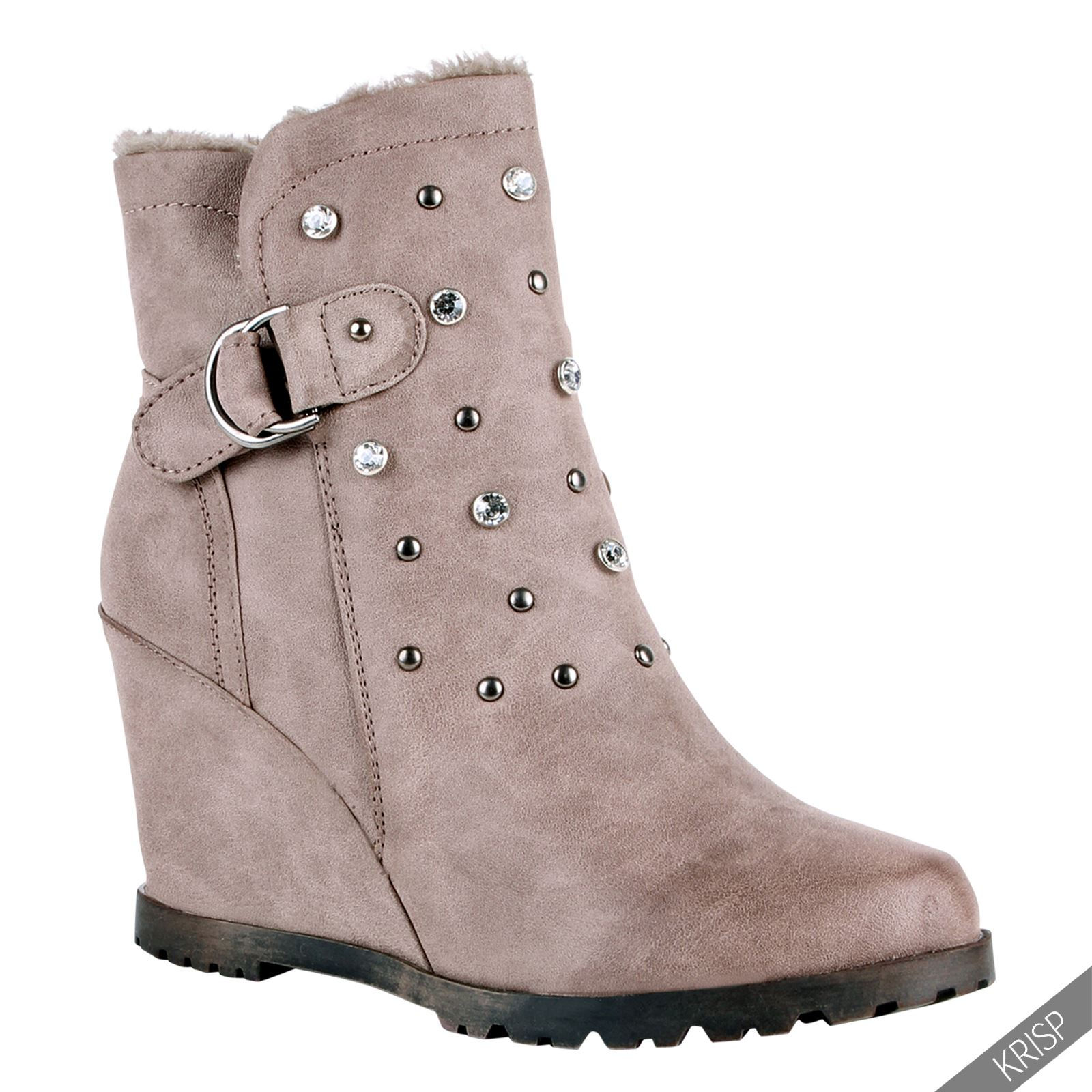 Women Fur Lined Studded Wedge Ankle Boots High Heel Ladies ...