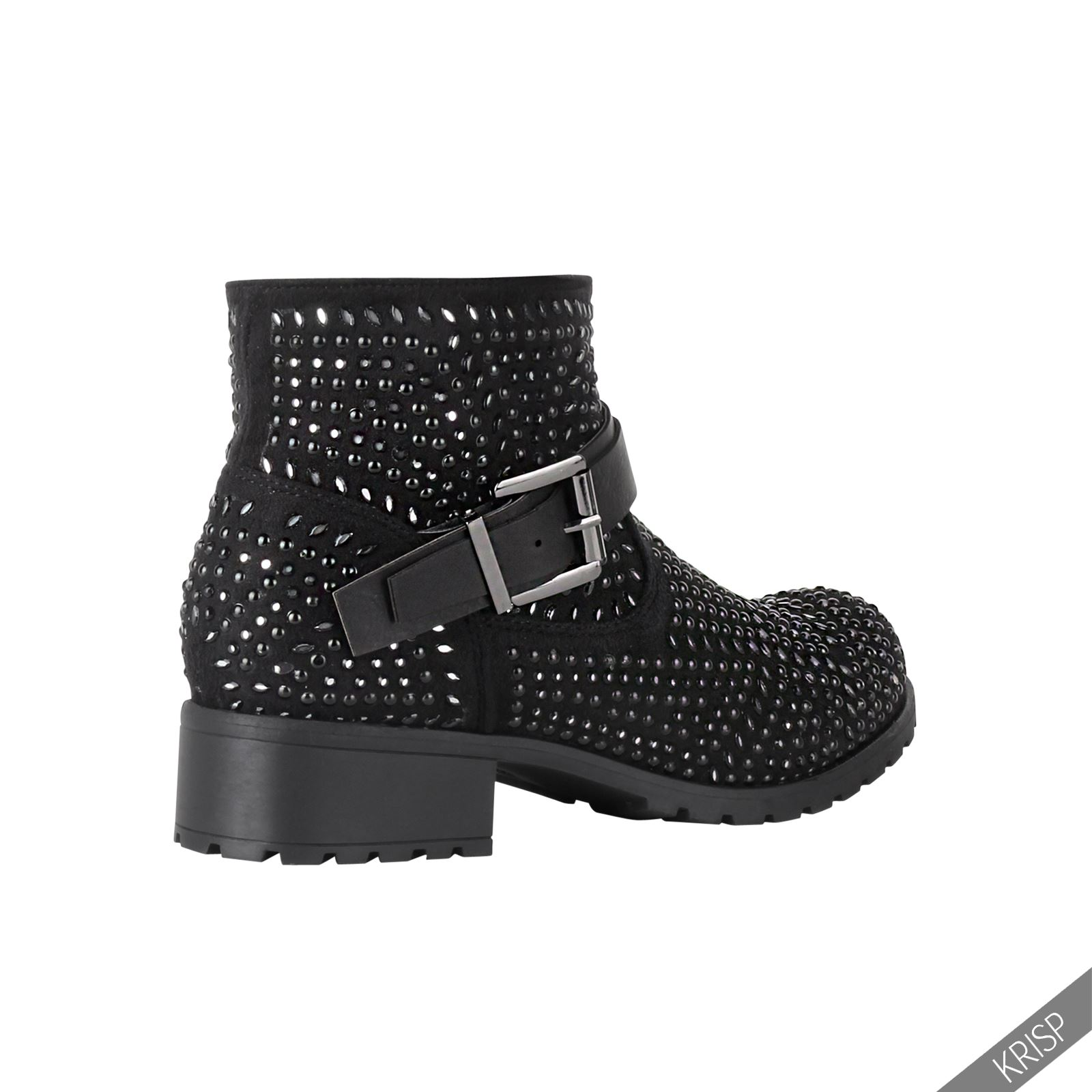 Cool WOMENS ANKLE BOOTS LADIES BIKER BUCKLE CASUAL FASHION LOW HEELS SHOES SIZE NEW   EBay