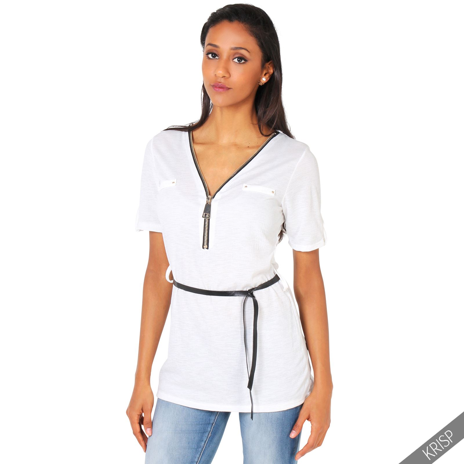 Womens Sexy Zip Up Plunging V Neck Pu Belt Long Tunic Top