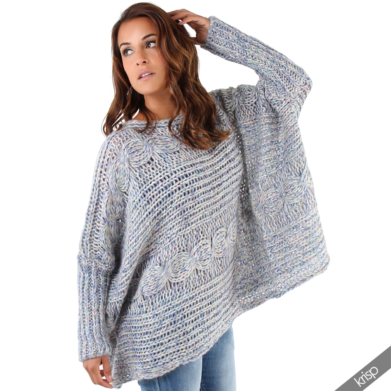 womens shiny chunky knit oversized boyfriend slouchy jumper sweater pullover top ebay. Black Bedroom Furniture Sets. Home Design Ideas