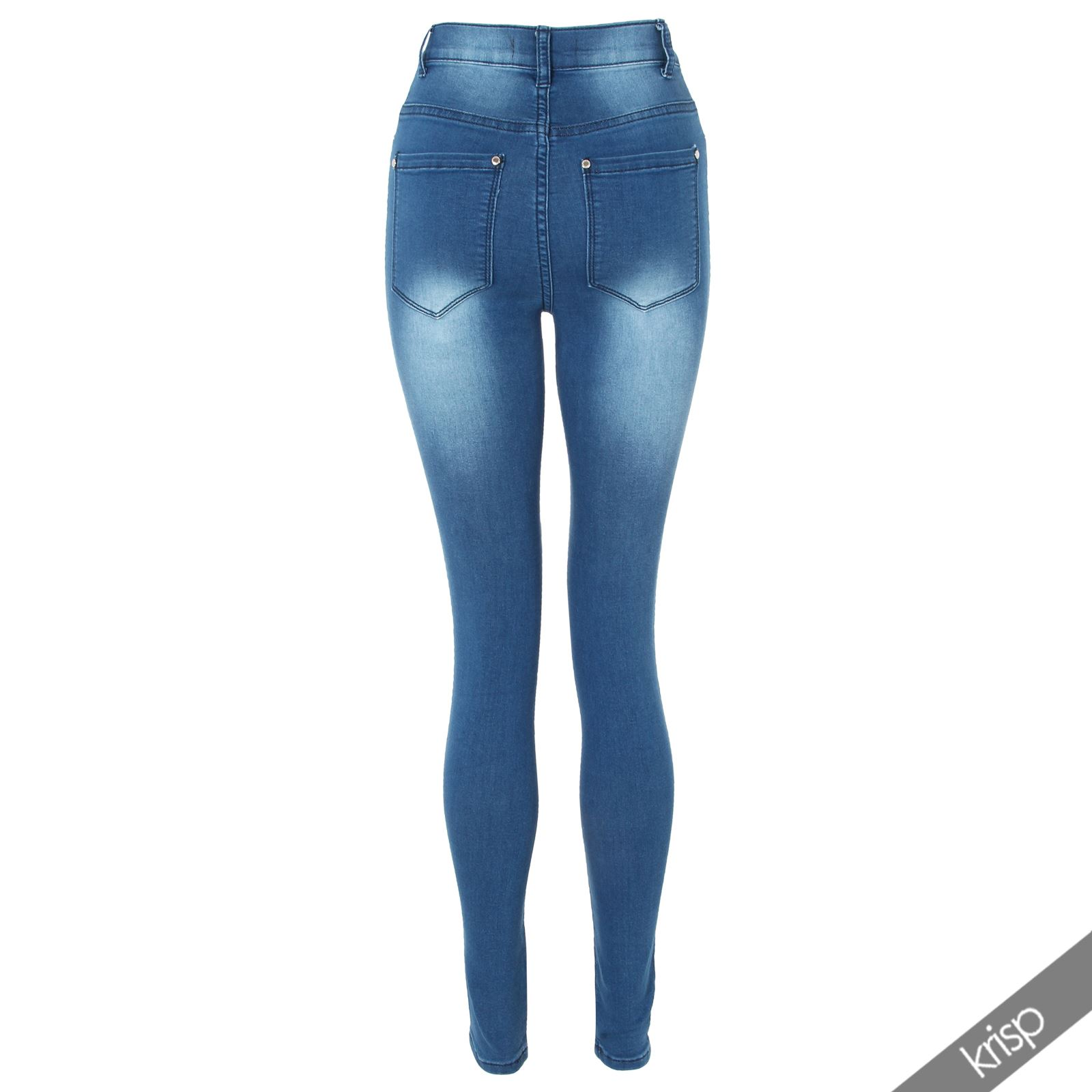 femmes jegging skinny jeans pantalon denim uni classique taille haute extensible. Black Bedroom Furniture Sets. Home Design Ideas