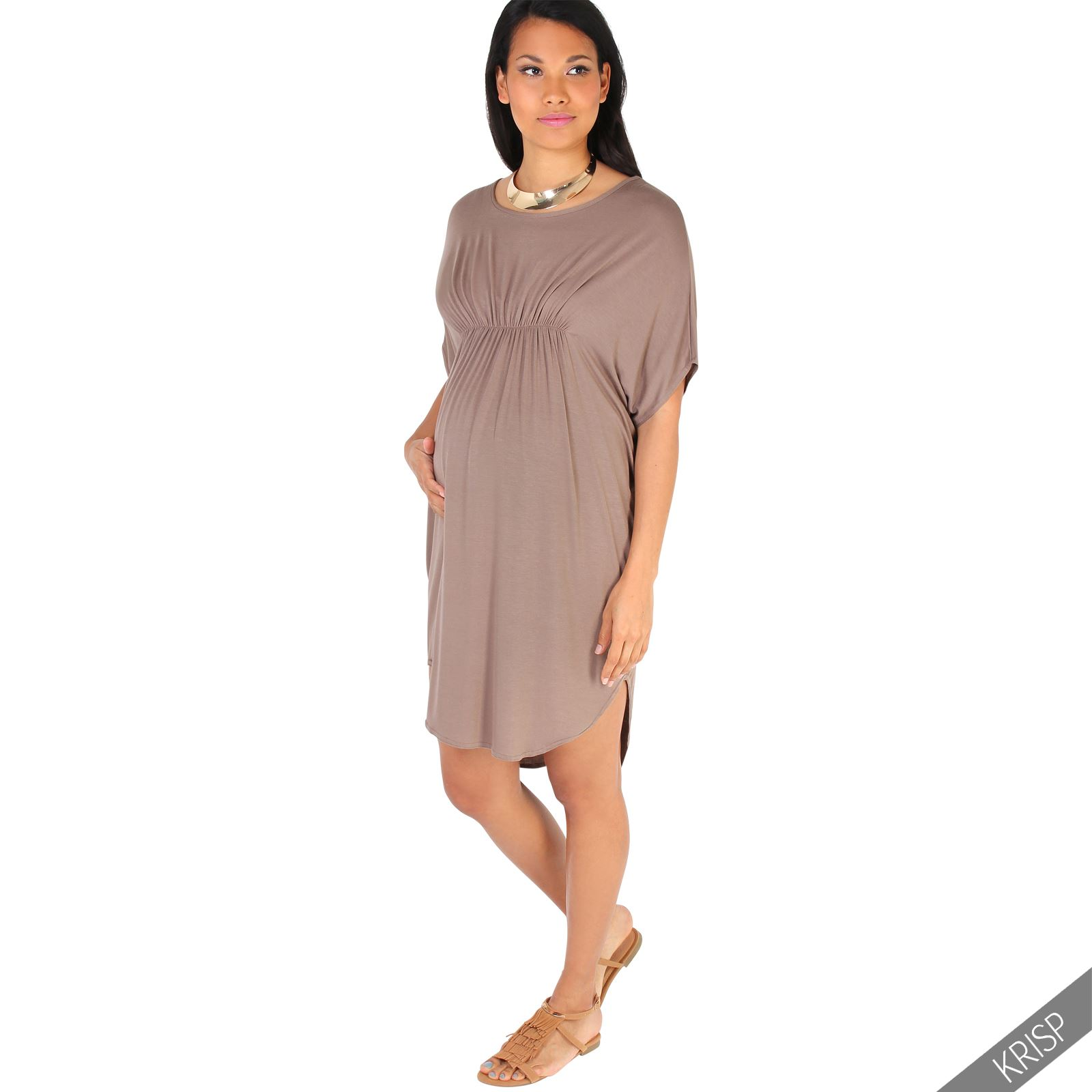 Maternity Womens Empire Line Short Sleeve Top Long Loose T