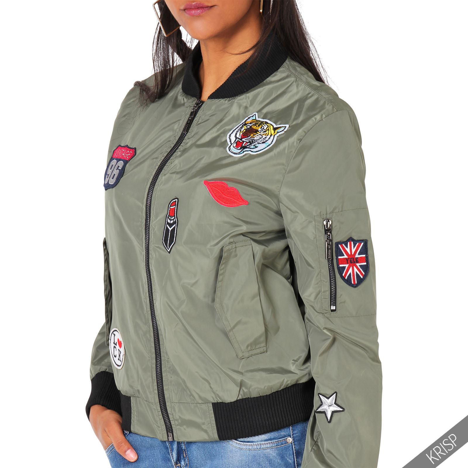 damen bomberjacke army patch sticker blouson jacke. Black Bedroom Furniture Sets. Home Design Ideas