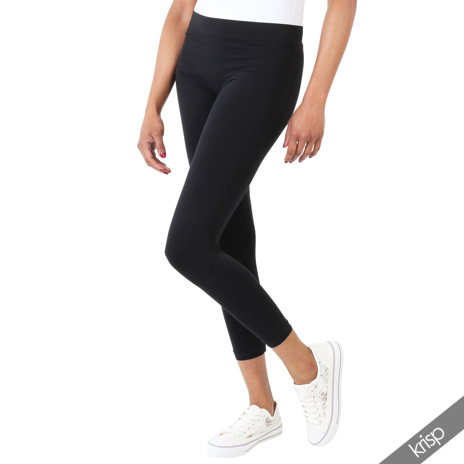damen schwarze leggings stretch capri lang elastische hose sport fitness yoga ebay. Black Bedroom Furniture Sets. Home Design Ideas