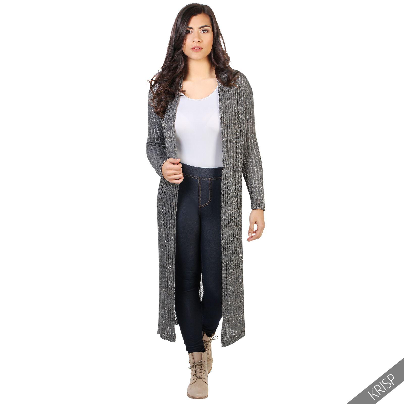 femmes cardigan gilet long tricot moyen paillette veste hiver chaud lurex ebay. Black Bedroom Furniture Sets. Home Design Ideas