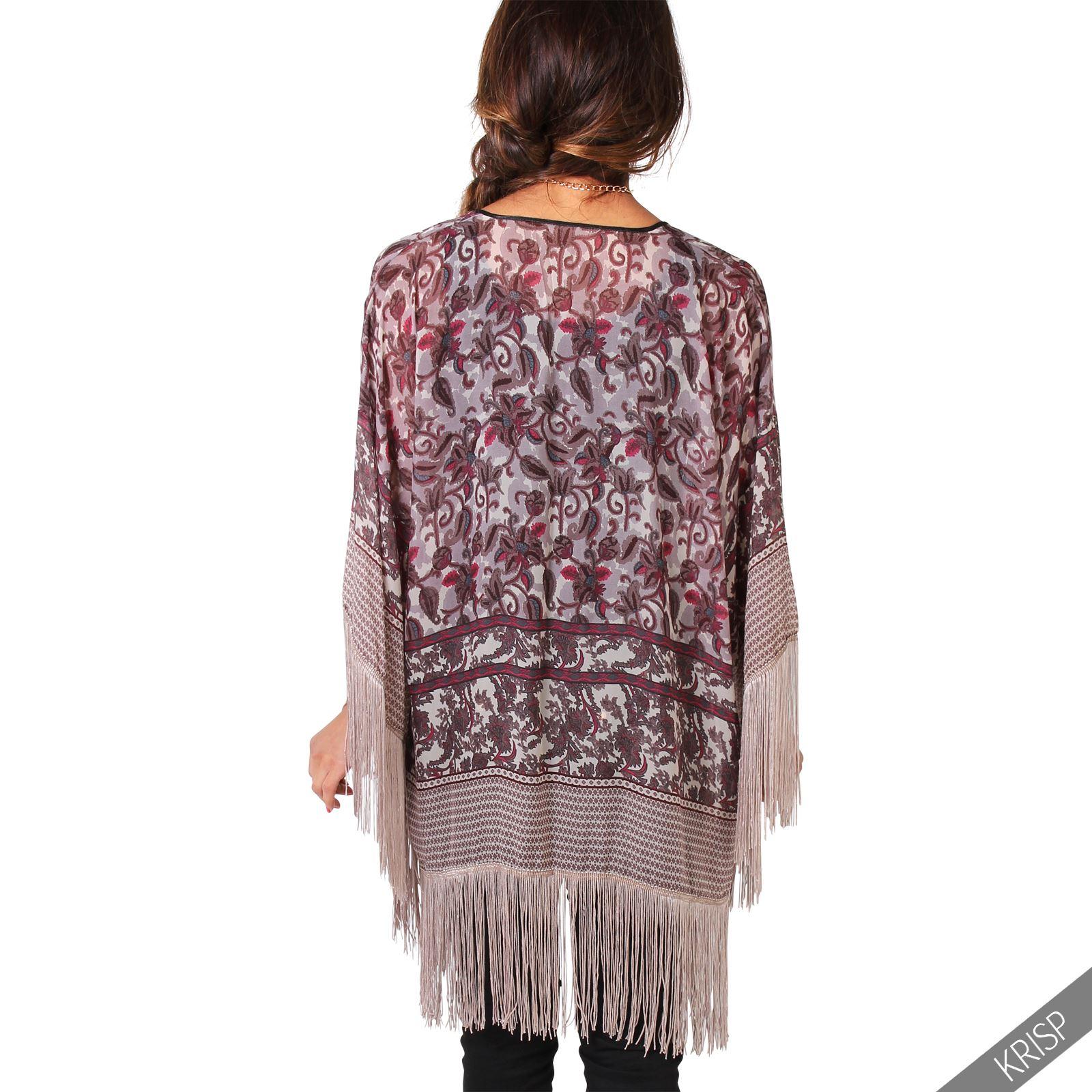 Womens Vintage Boho Tassel Kimono Shrug Beach Cover Blouse