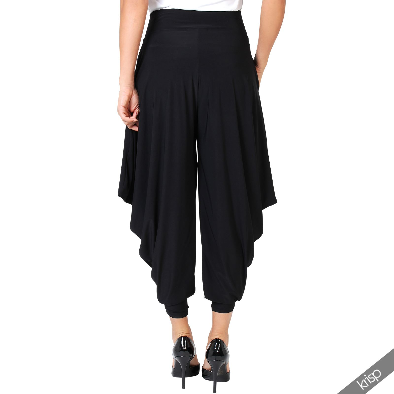 New Black Harem Pants Women Stretch High Waisted Flared Trousers With Pockets USA