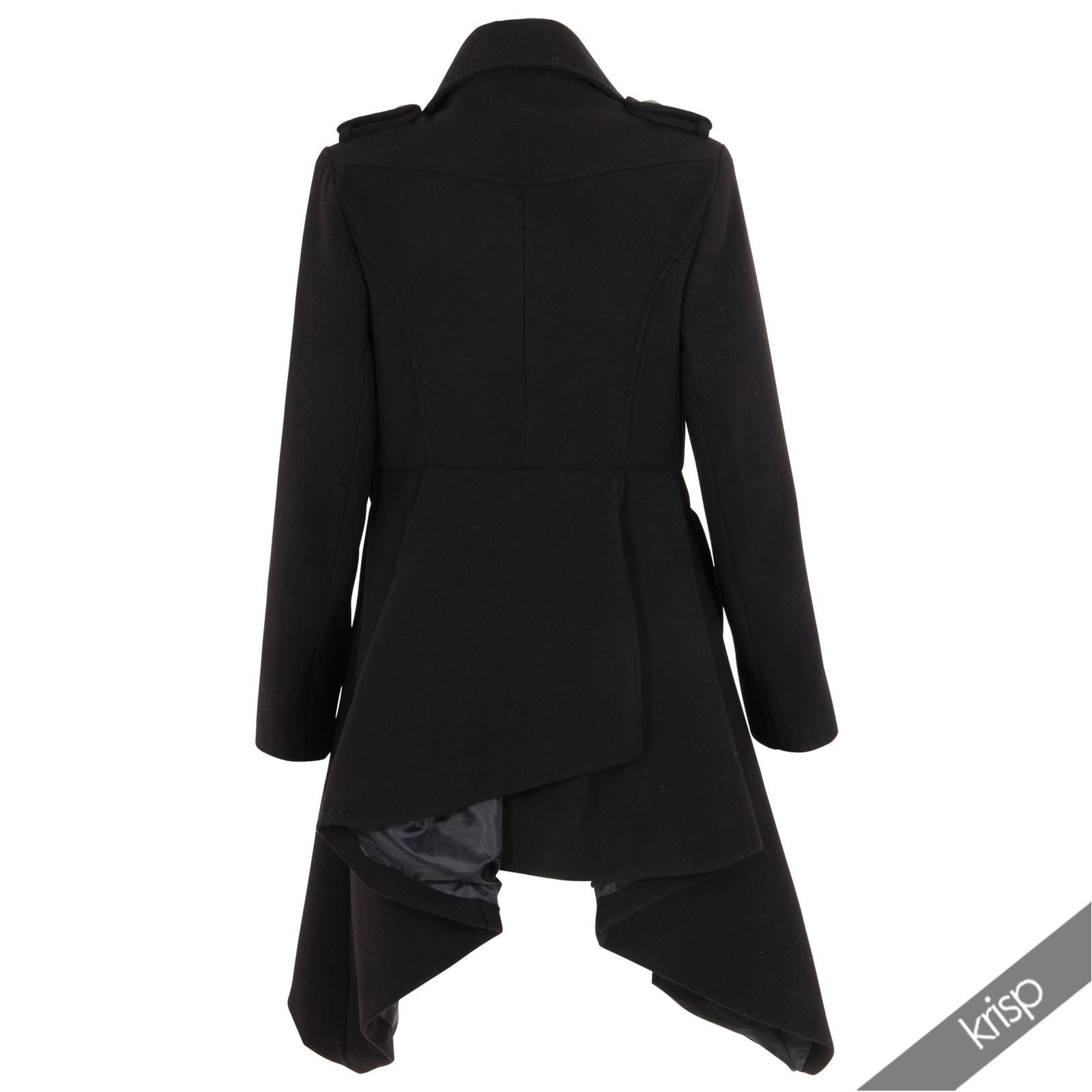 krisp damen milit r mantel zweireiher lang winter jacke. Black Bedroom Furniture Sets. Home Design Ideas