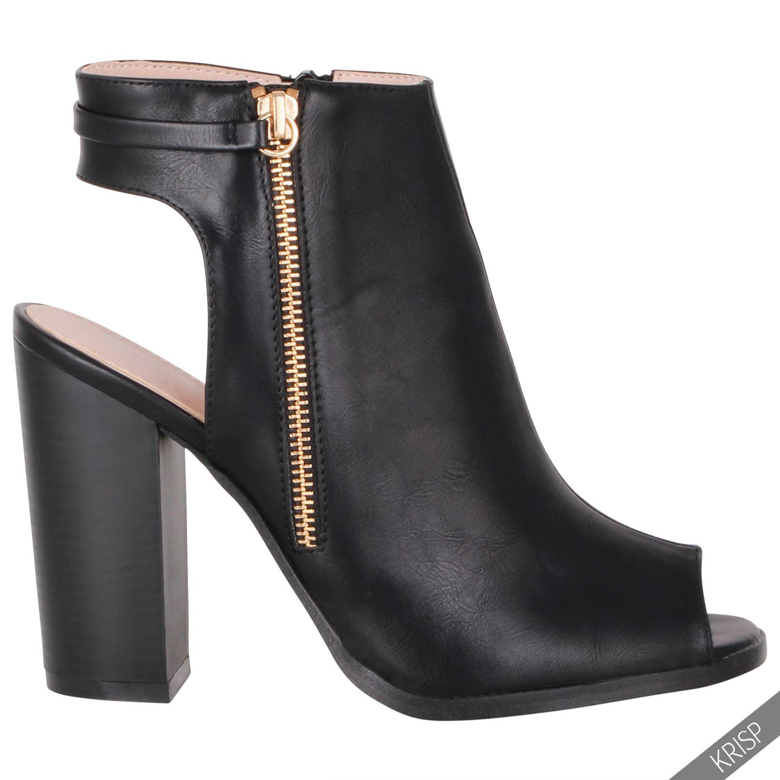 Womens Fashion Cut Open Peep Toe Shoes Block High Heel Summer Ankle Boots Sz 3-8 | EBay