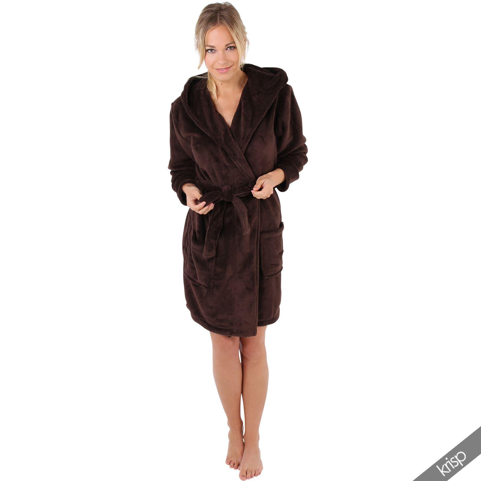 Womens Soft Plain Basic Dressing Gown Hooded Bath Robe ...