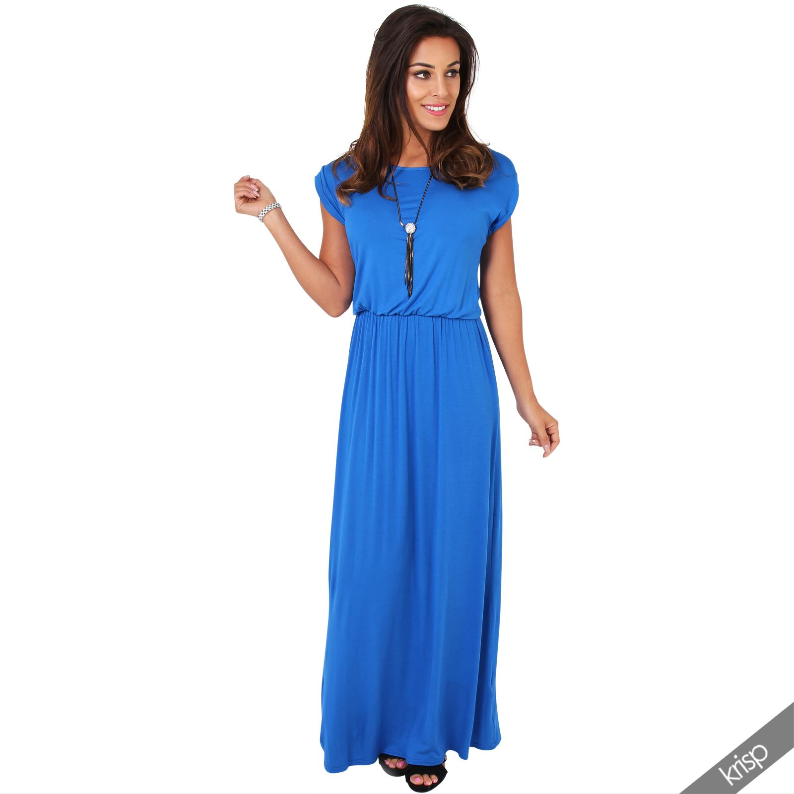 AU Long Summer Dress Short Sleeves Maxi Beach Cover Jersey ...