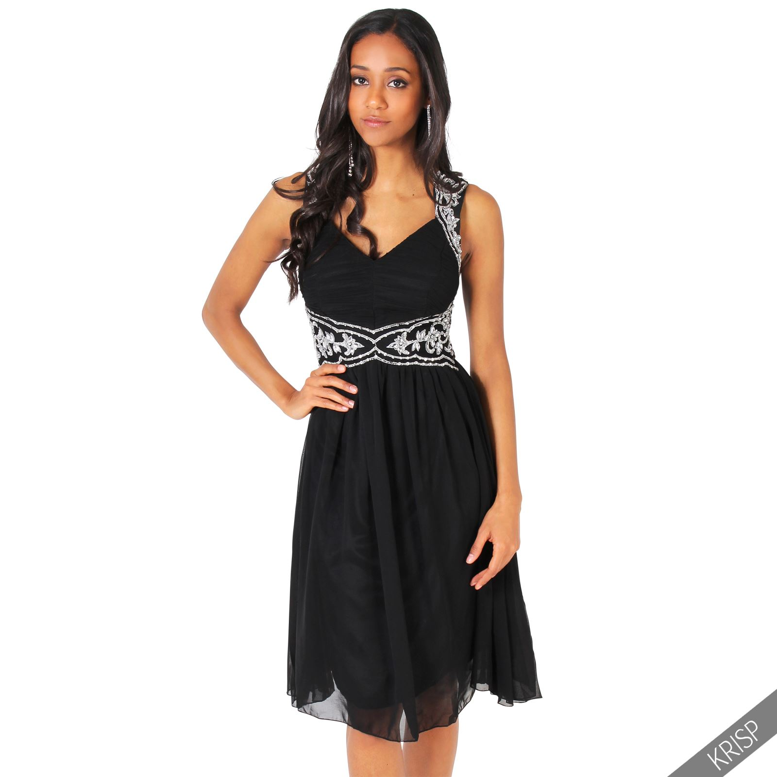 Womens Ladies Cocktail Chiffon Diamante Midi Dress Formal Ball Gown ...