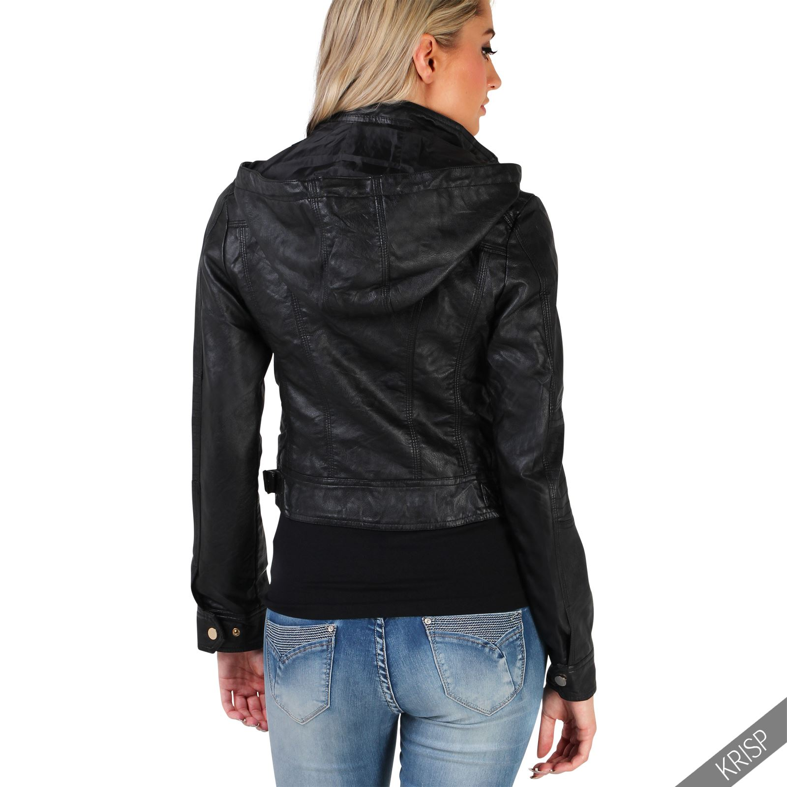 damen kurze kunstleder jacke abnehmbare kapuze lederjacke bikerjacke hoodie ebay. Black Bedroom Furniture Sets. Home Design Ideas