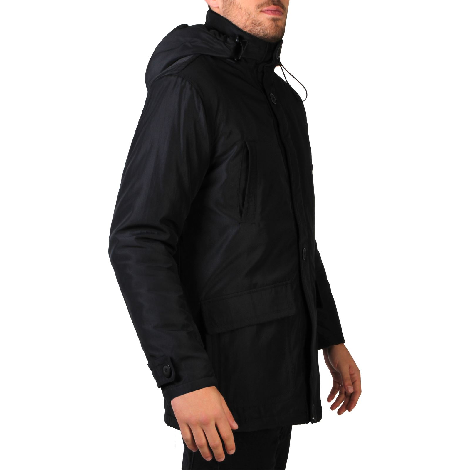 Mens Detachable Hood Warm Padded Parka Jacket Hooded ...