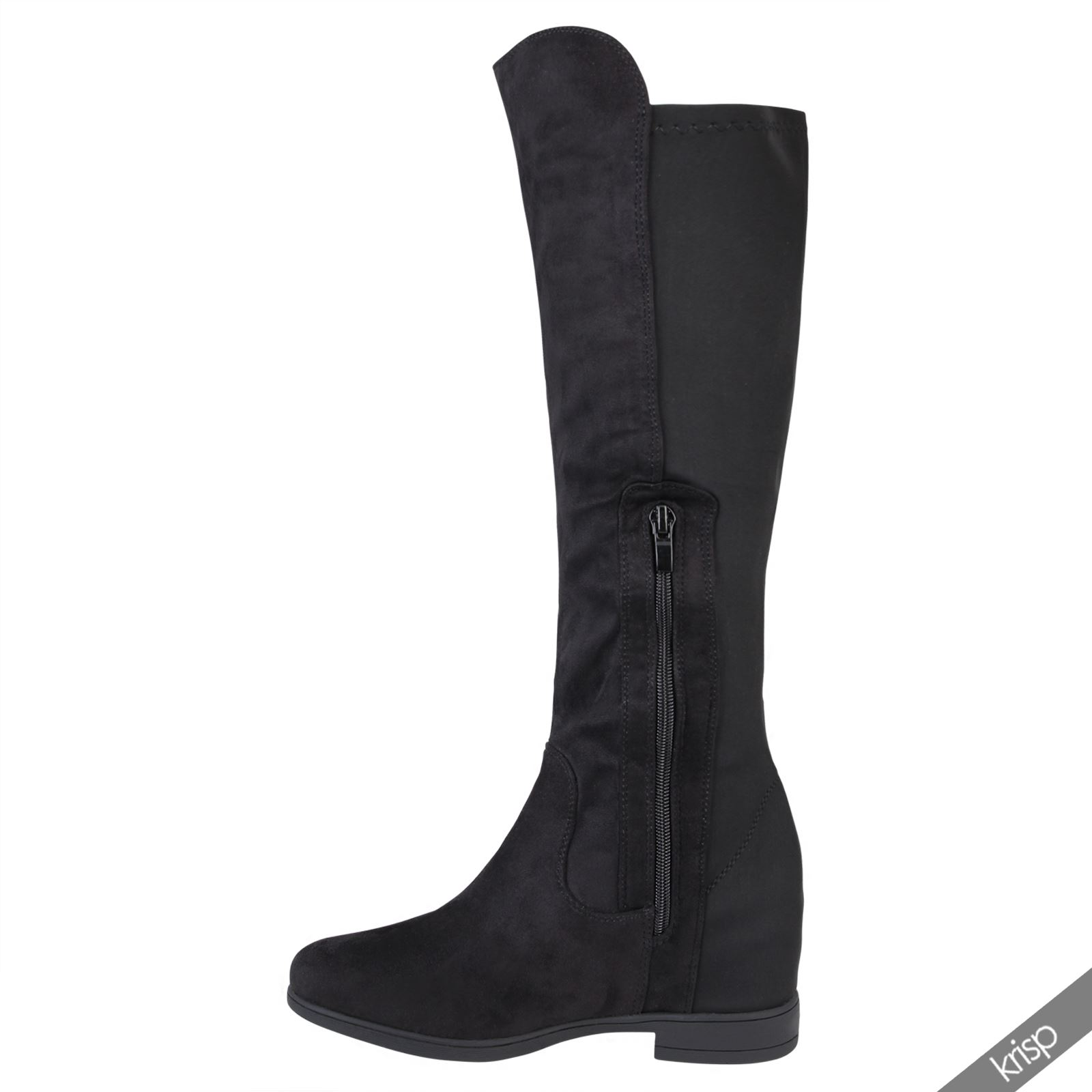 womens concealed wedge stretch knee high boots low