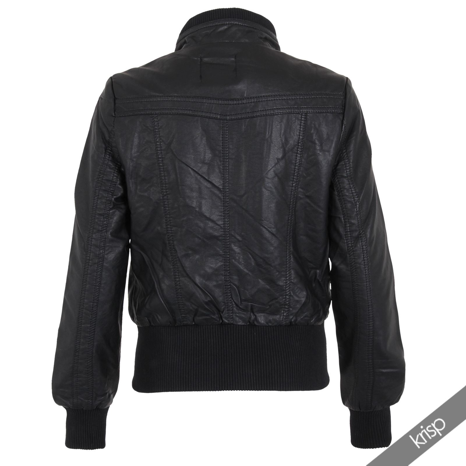 Womens Retro Soft PU Leather High Neck Cropped Waist Bomber Biker Jacket Zipper