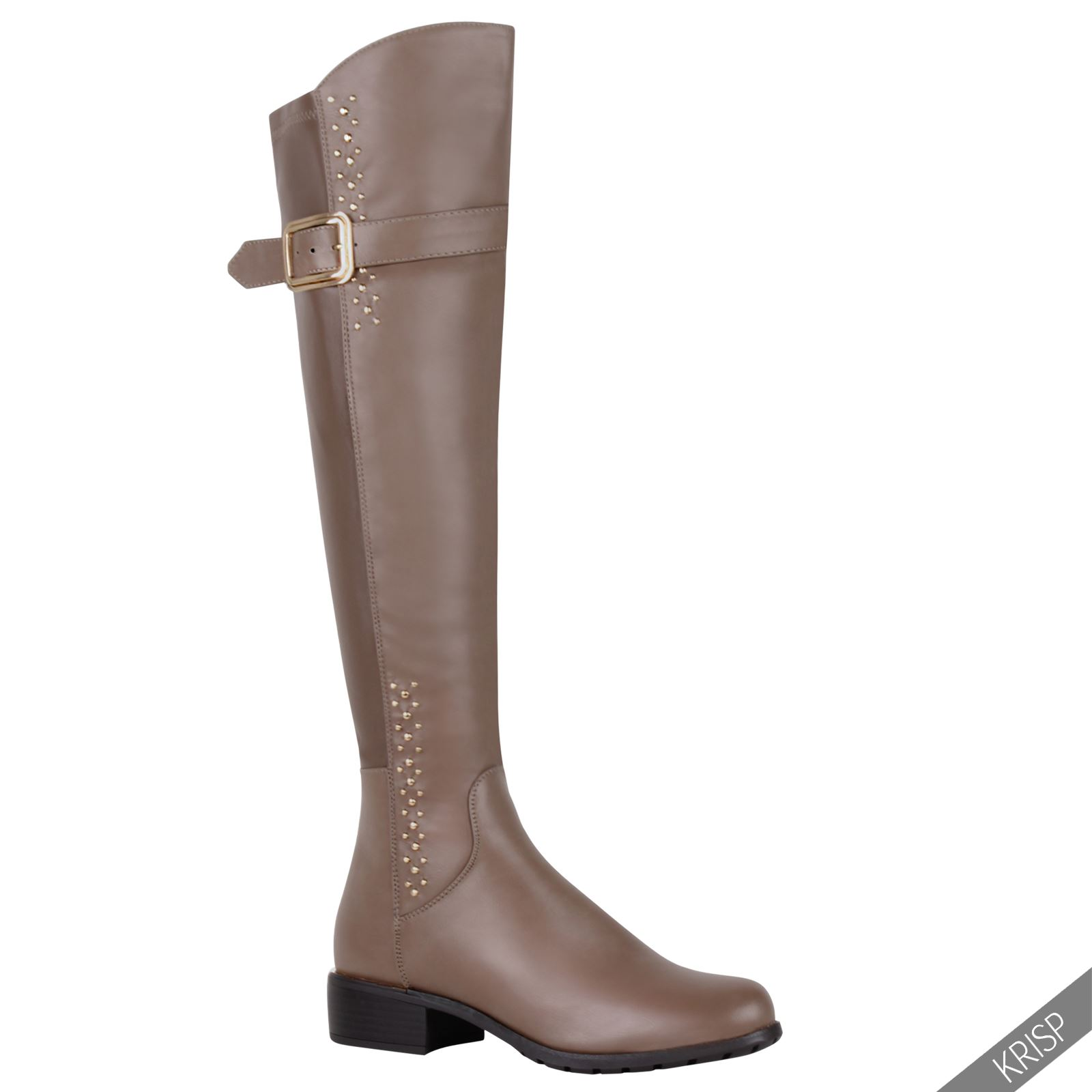 womens stretch studded knee high boots low heel
