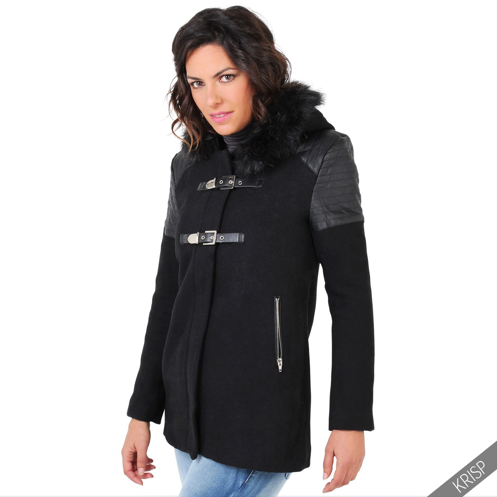 Womens Quilted Leather Fur Hood Wool Parka Duffle Coat Jacket
